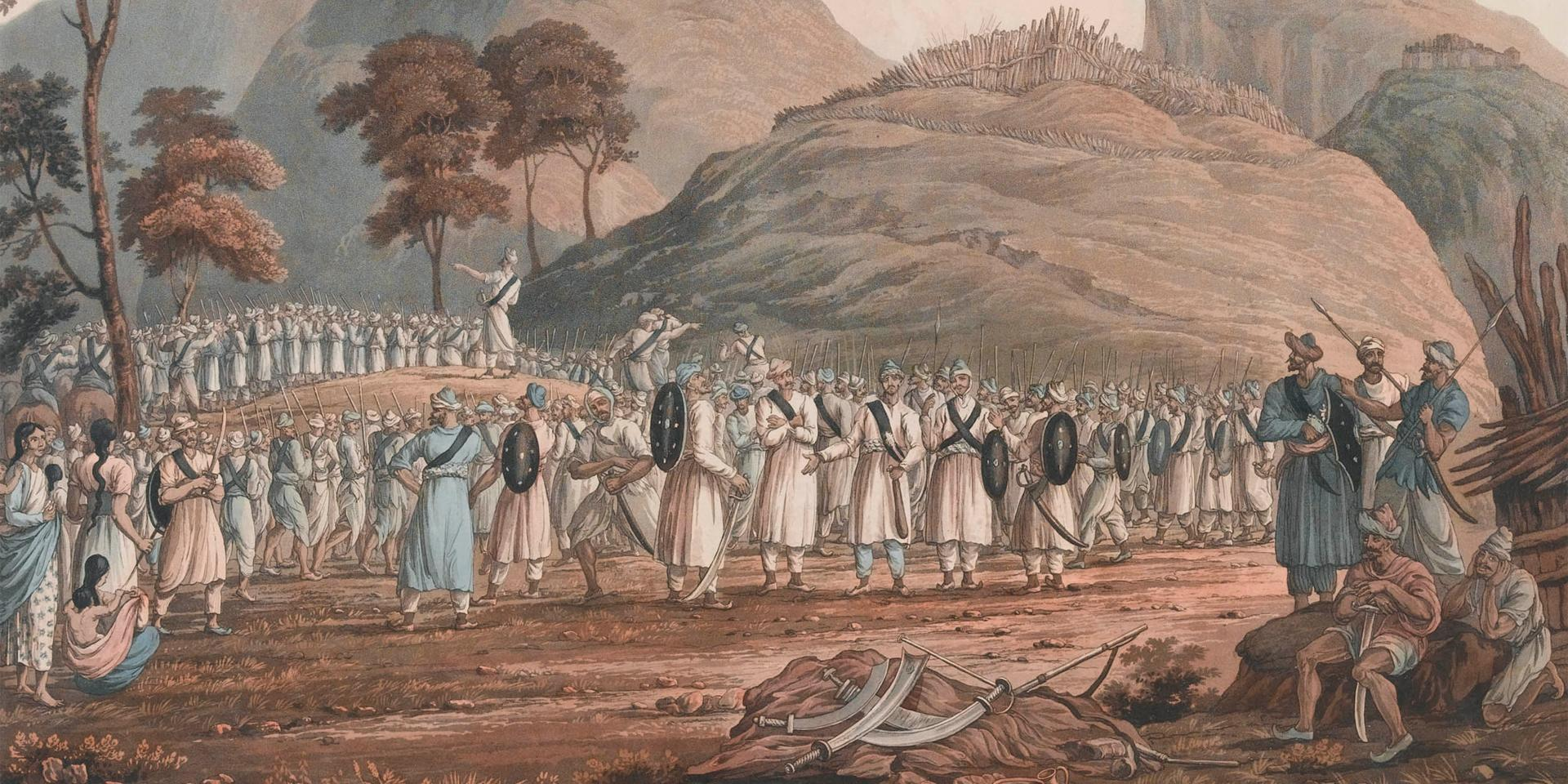 An early depiction of Gurkhas by James Baillie Fraser, 1815