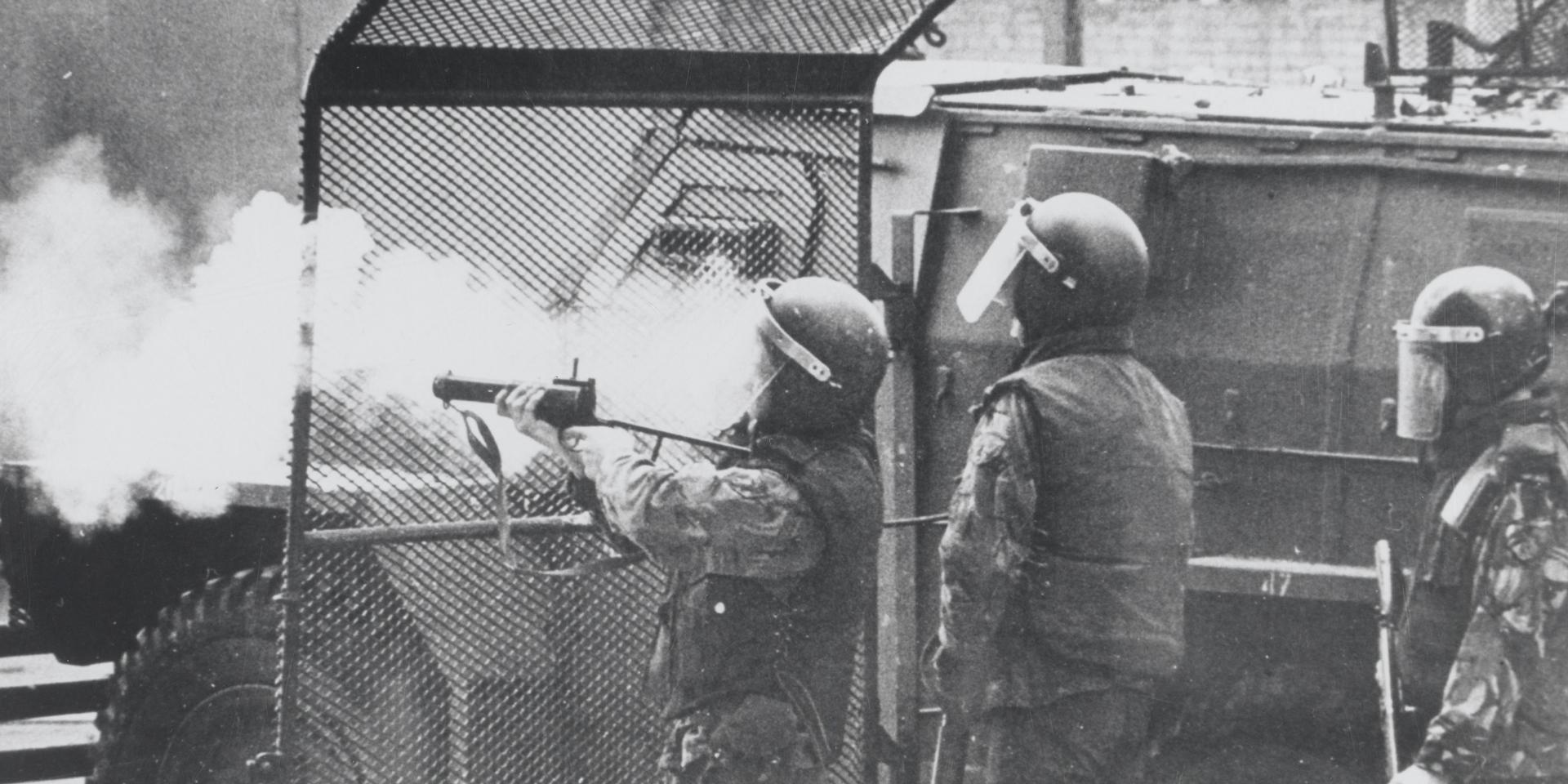 British soldiers in riot equipment in Northern Ireland, 1972
