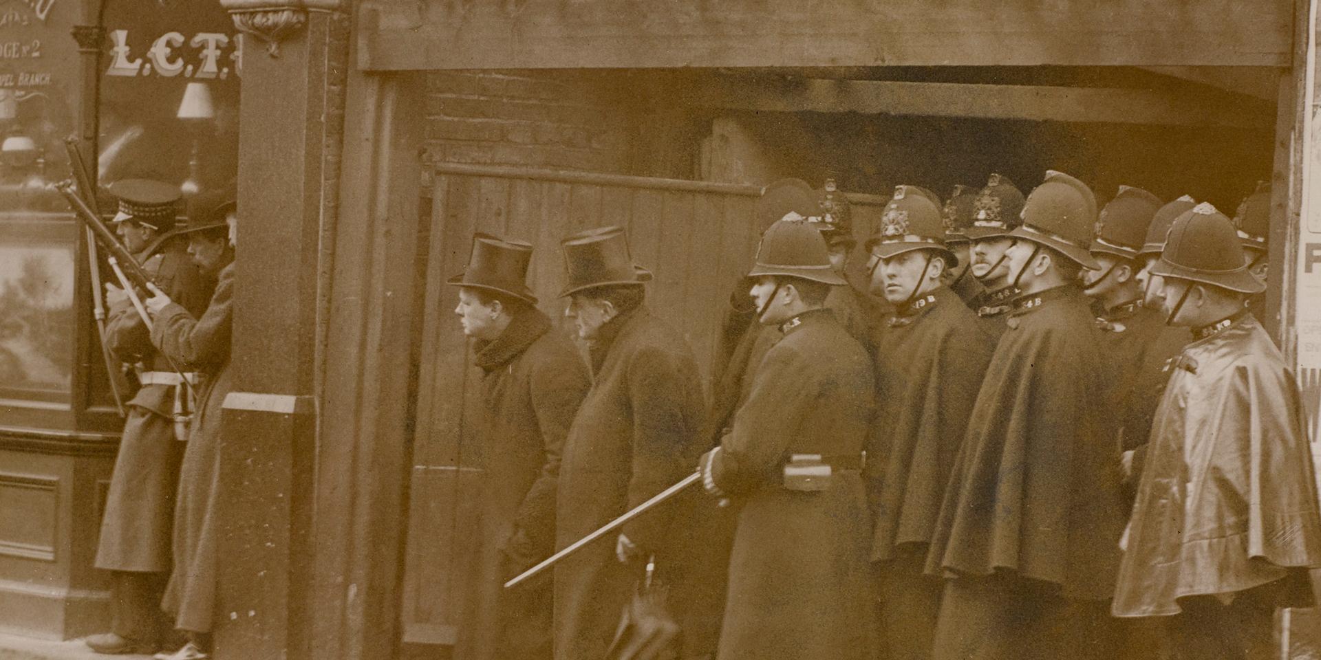 Home Secretary Winston Churchill at Sidney Street, 1911