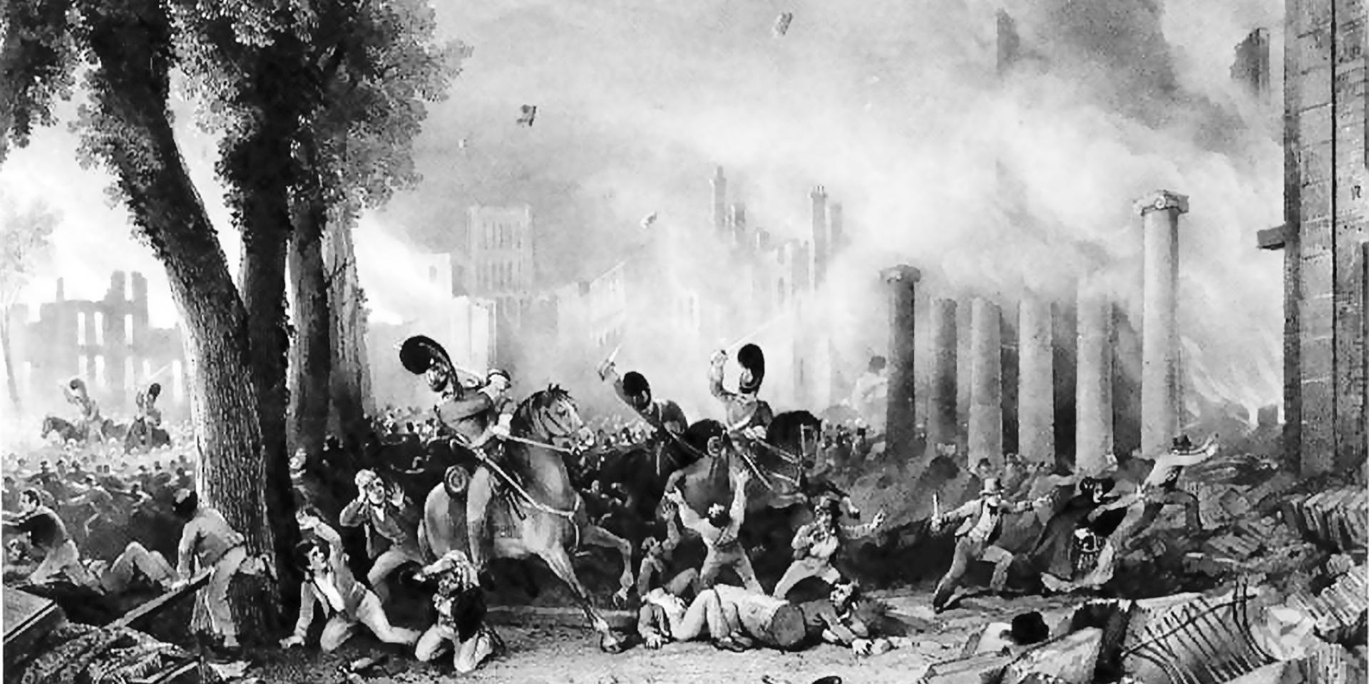 Charge of the 3rd Dragoon Guards on the rioters in Queen Square, Bristol, 1831