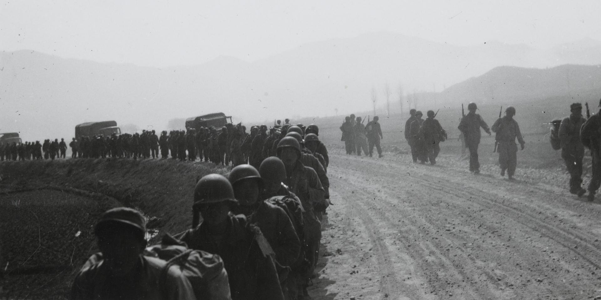 American soldiers march north, 1950