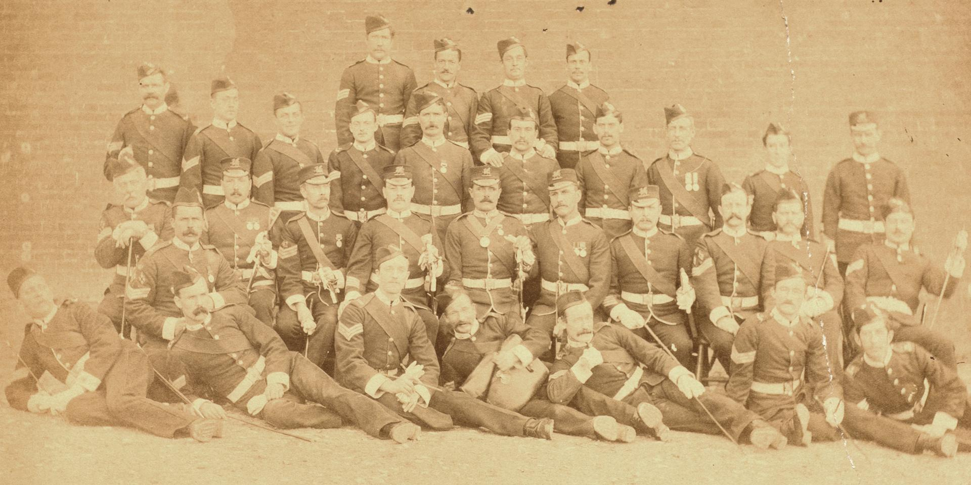 Sergeant Major J Pepper (centre) and the 3rd (The East Kent) Regiment of Foot, 1877