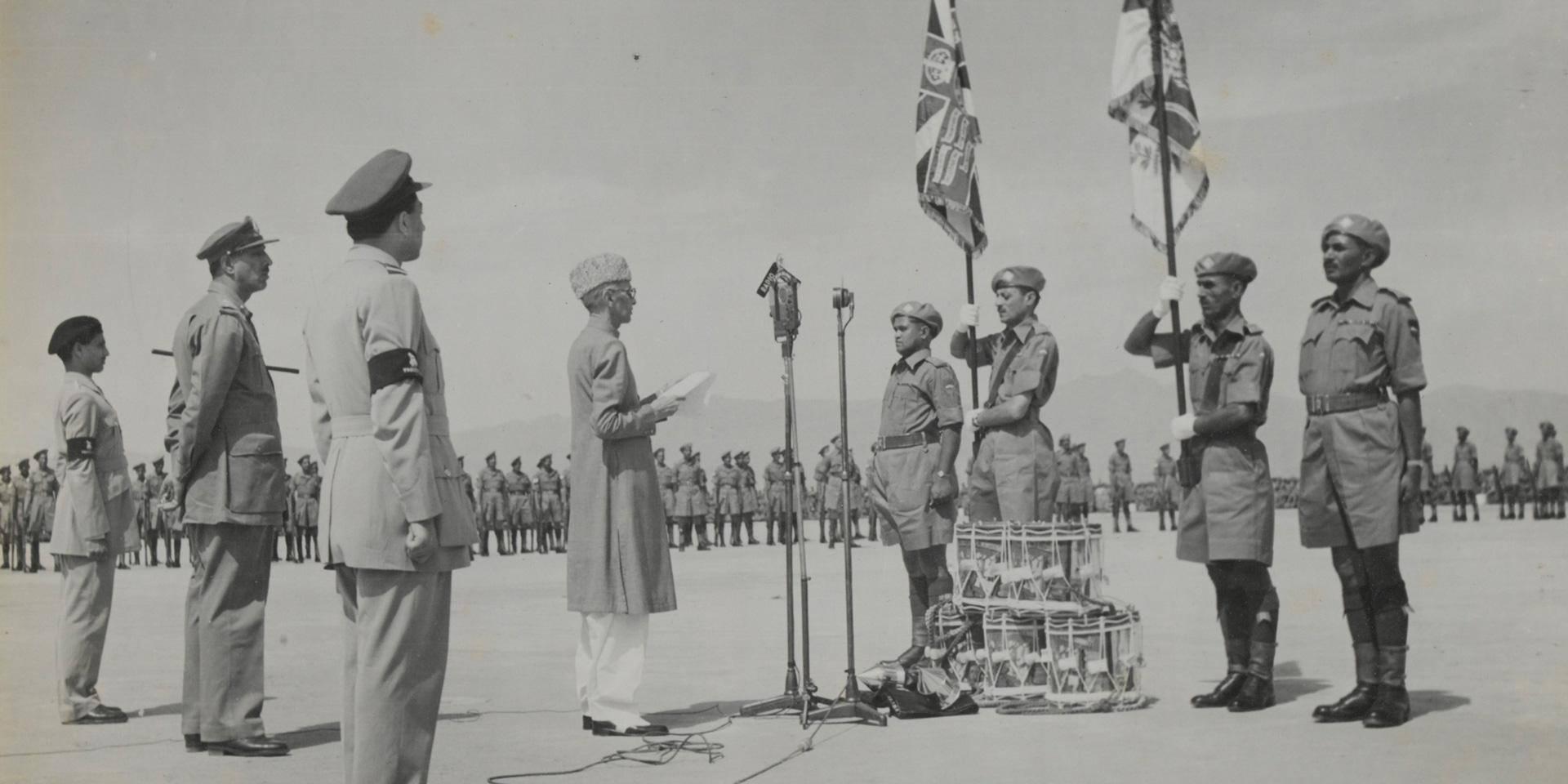 Presentation of Colours to 2nd Battalion, 15th Punjab Regiment, by Mohammad Ali Jinnah Qaid-i-Azam, Peshawar, Pakistan, 15 April 1948