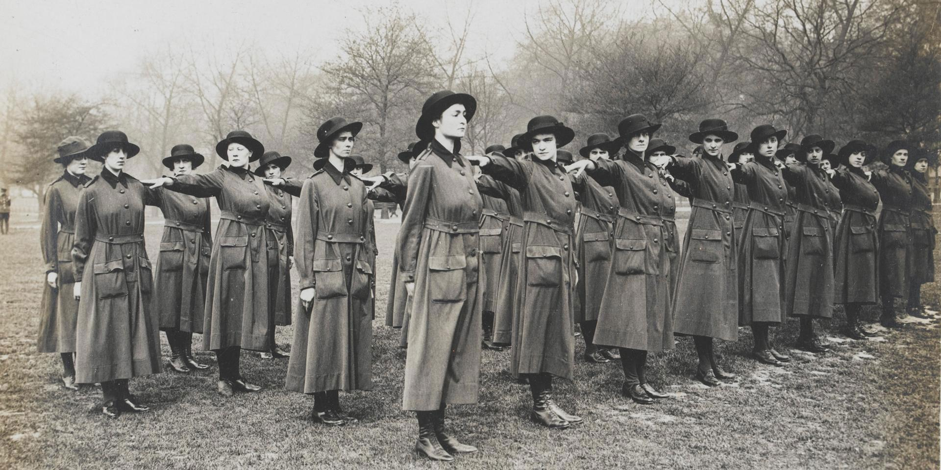 Women's Army Auxiliary Corps recruits learn to drill, 1917