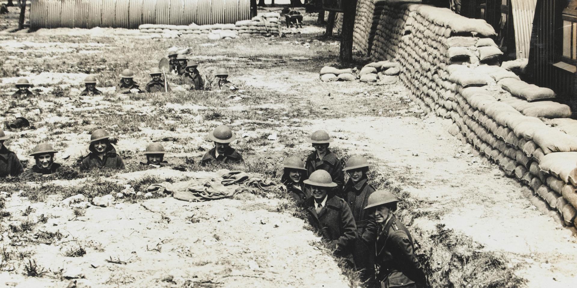 WAACs undertaking air raid precautions training, 1918