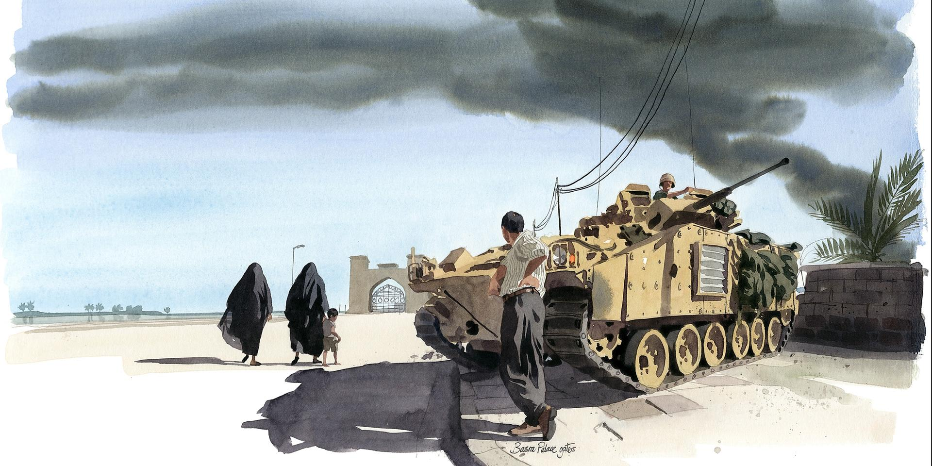 Basra Palace gates, April 2003 by Matthew Cook, 'The Times' War Artist,during Operation TELIC, Iraq (2003-2011)