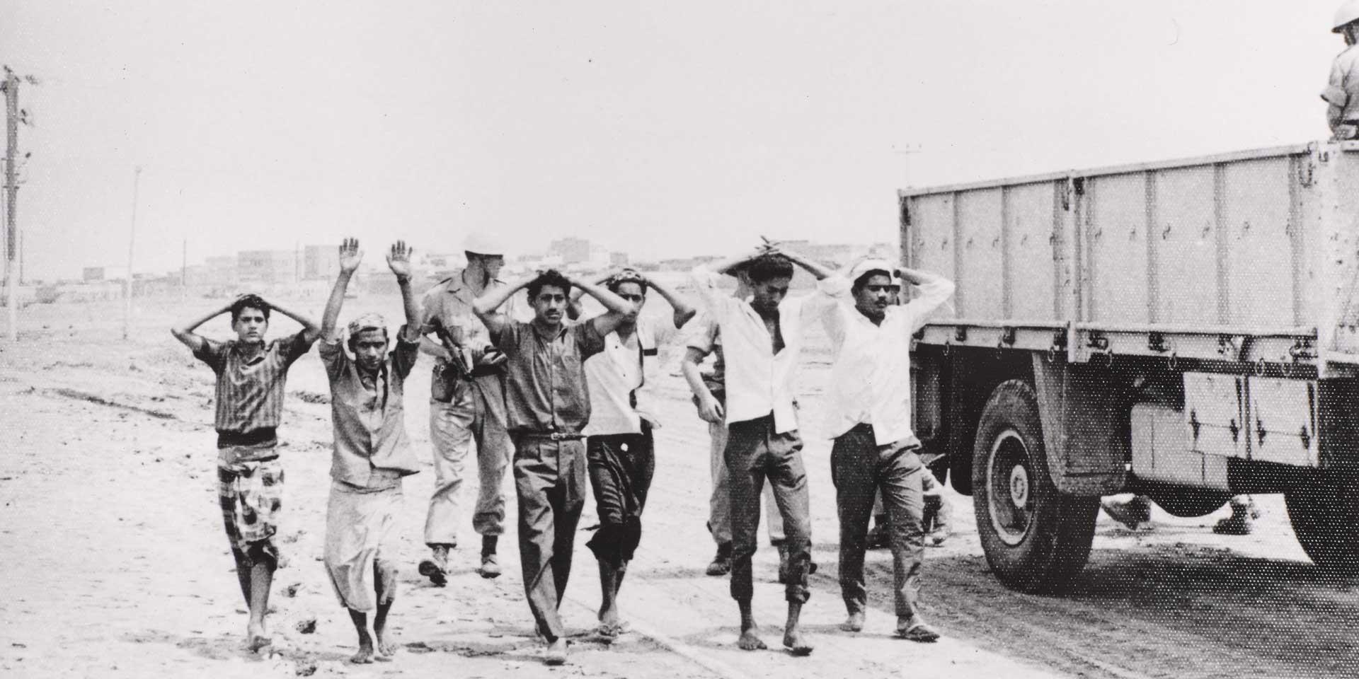 Rounding up suspects, Aden, 1967