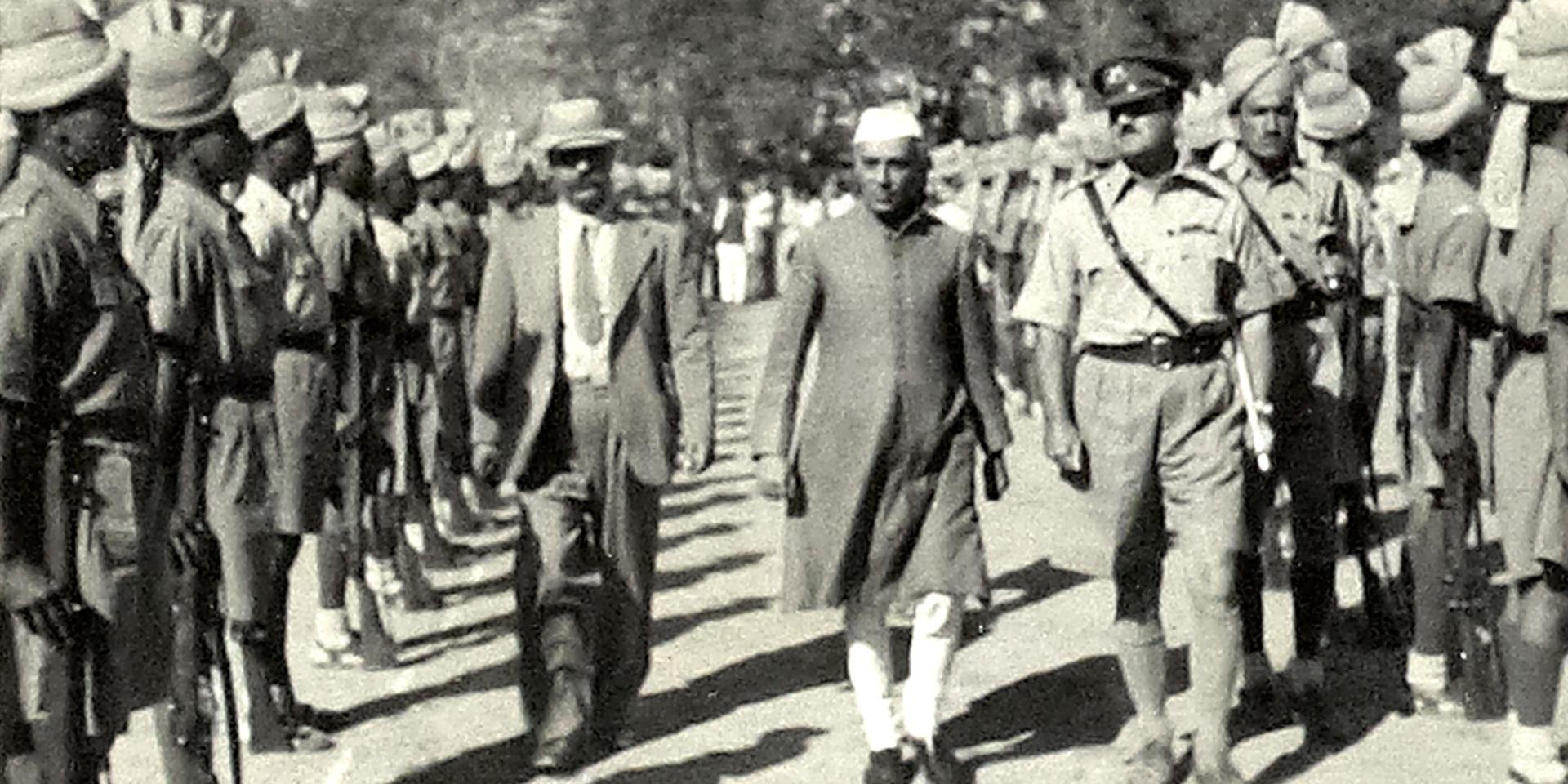 Nehru visiting the Khyber Rifles at Jamrud, 1946