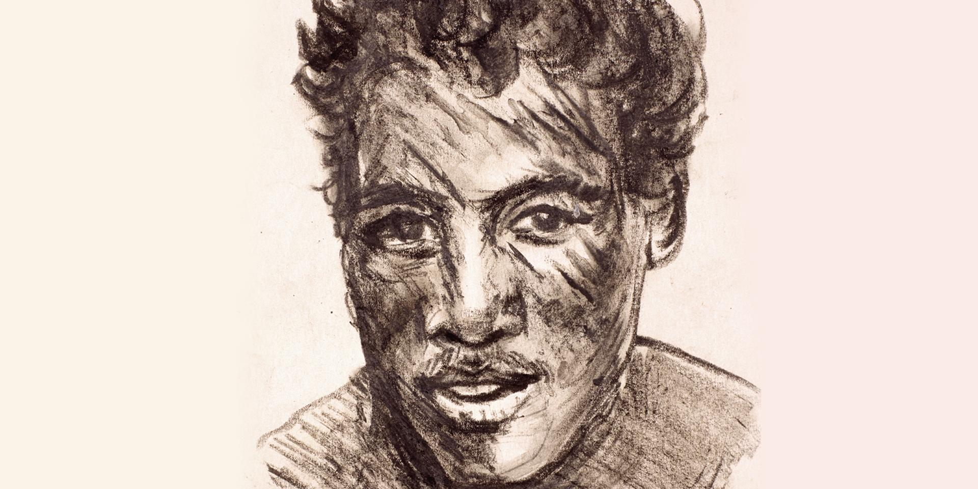 Portrait of a soldier, 1945. Sketch in 'Blanco' by Private Wilfrid James Myers, 7 July 1945
