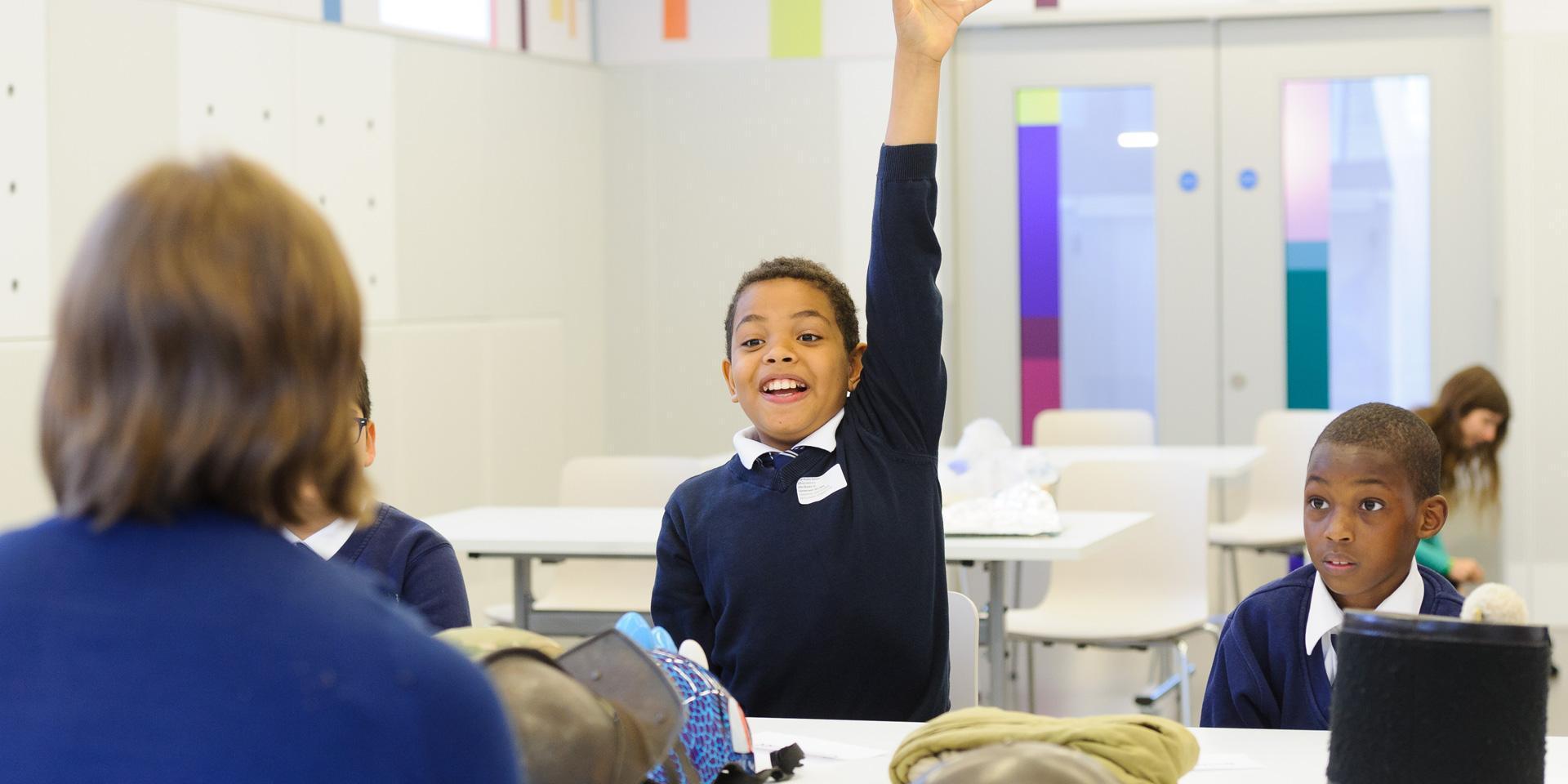 School children attending a workshop