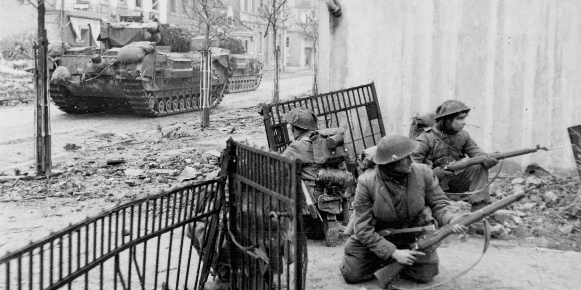 2nd Battalion, The Gordon Highlanders, supported by Churchill tanks of the Guards Armoured Division, fight their way into Kleve, 11 February 1945