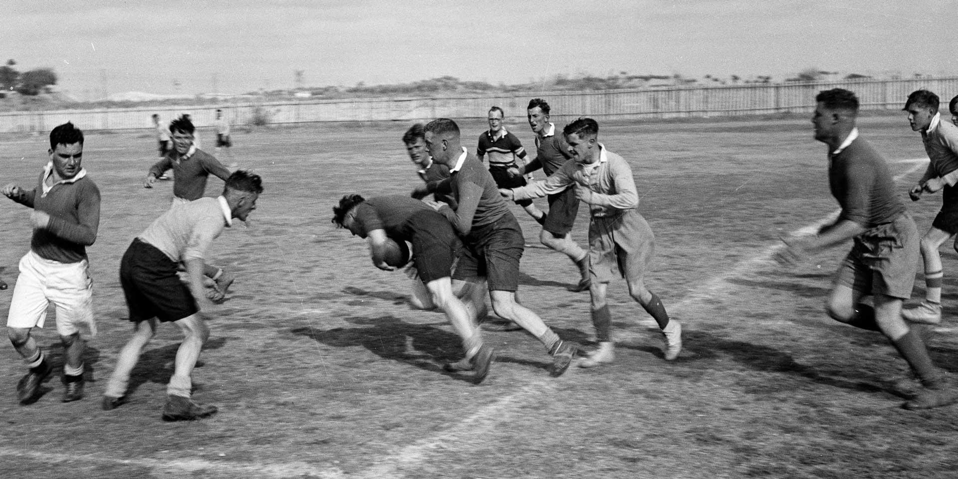 Rugby match featuring members of the 3rd County of London Yeomanry (Sharpshooters), c1942