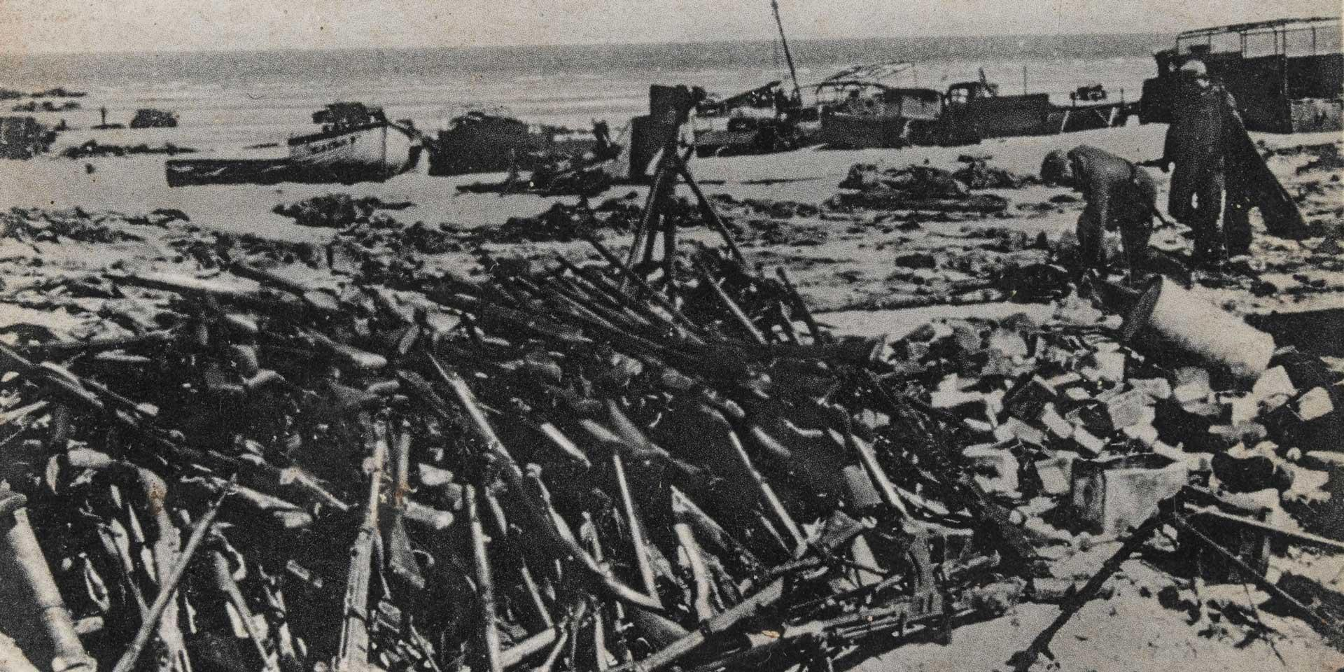 German soldiers collect Allied equipment at Dunkirk, 1940