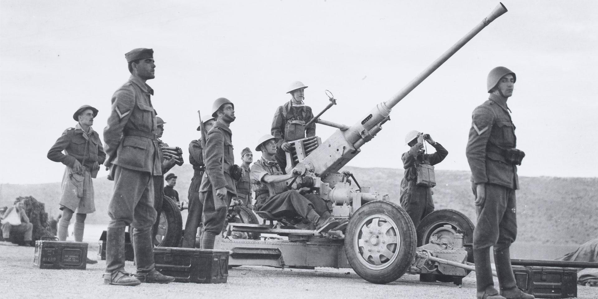 Greek and British soldiers man an anti-aircraft gun, 1941