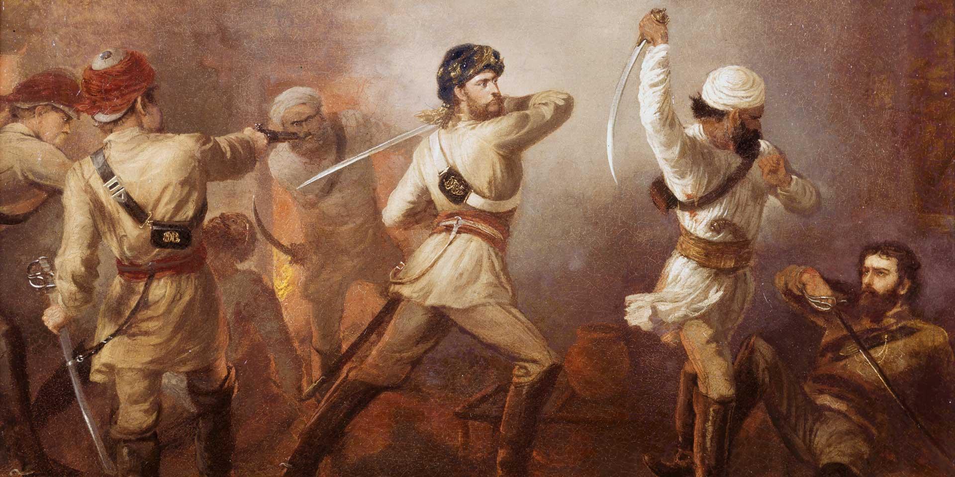 Captain Charles Gough, 5th (Bengal) European Cavalry, winning the VC, 15 August 1857
