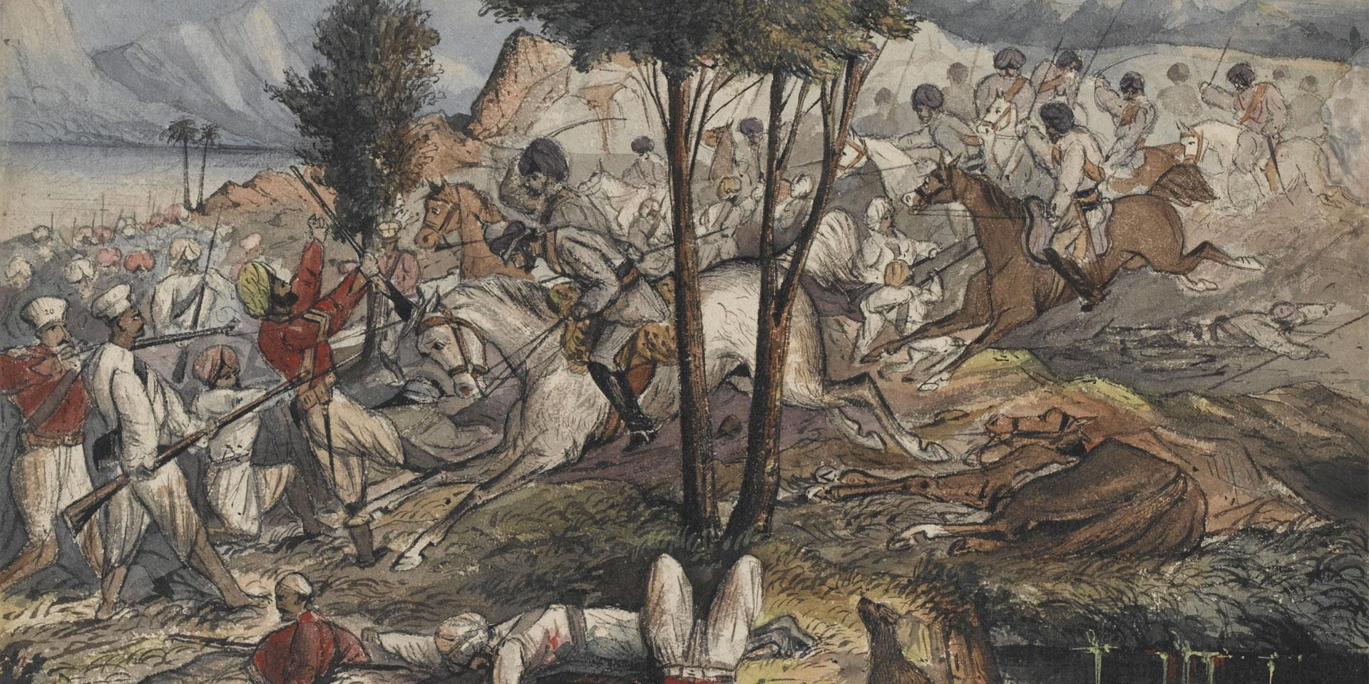 Mayne's Horse attacking mutineers in Gwalior, 1858