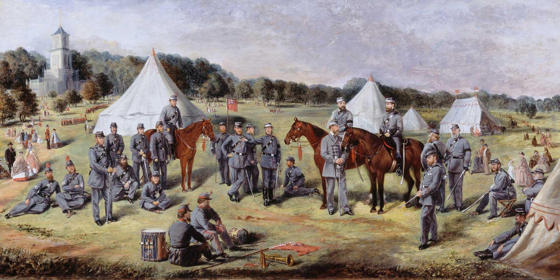 A battalion of the Norfolk Volunteers at Gunton Park, 1864