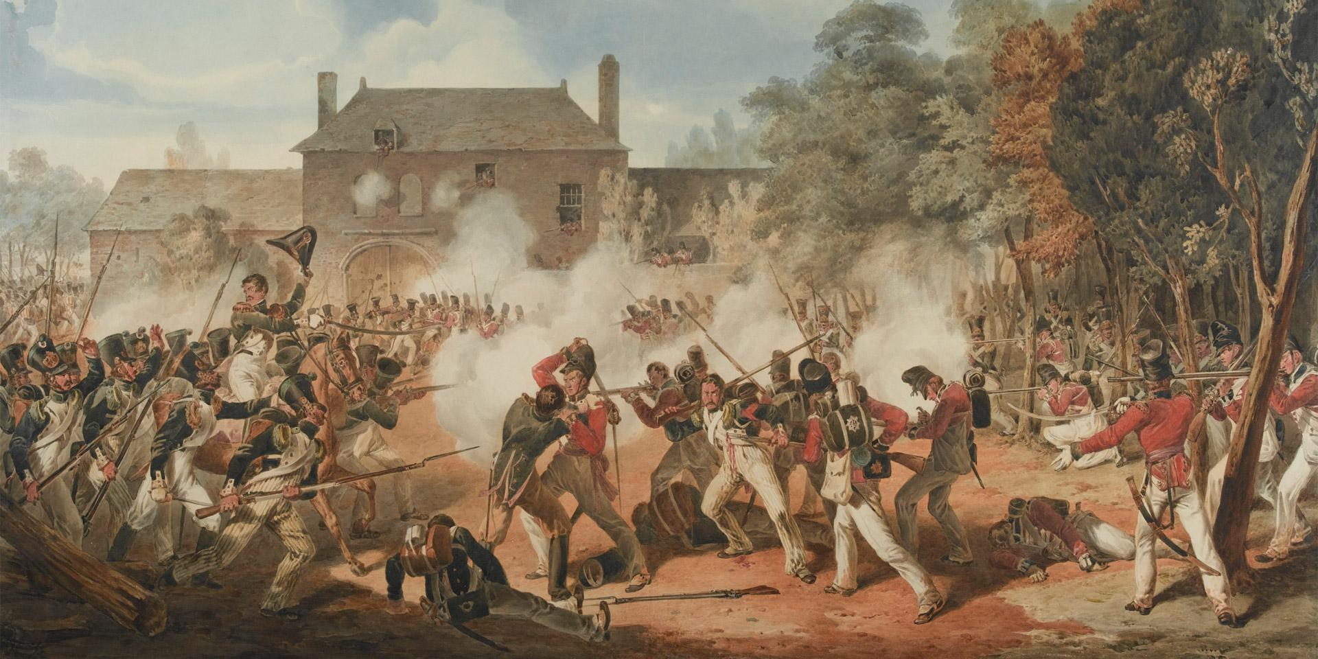 Defence of the Chateau de Hougoumont during the Battle of Waterloo, 1815