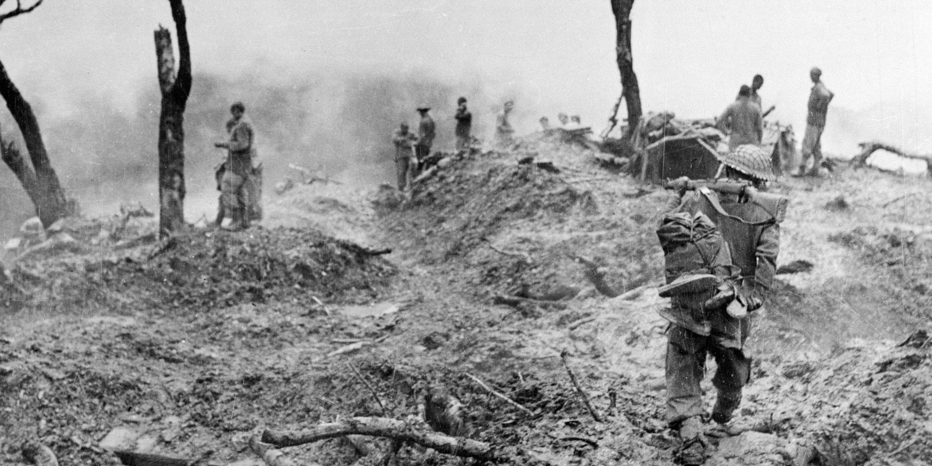 10th Gurkha Rifles clearing enemy positions on 'Scraggy' hill during the Japanese drive towards Imphal in April 1944