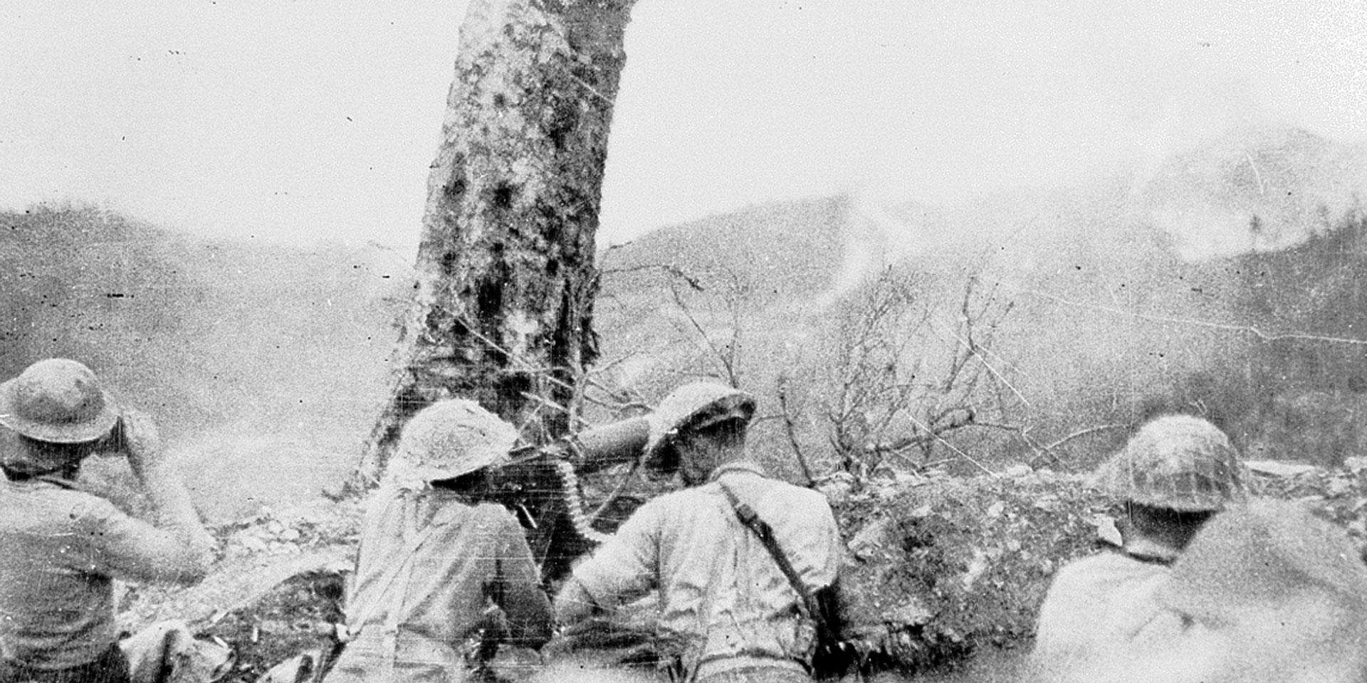 Gurkhas open fire during an attack near Palel, April 1944