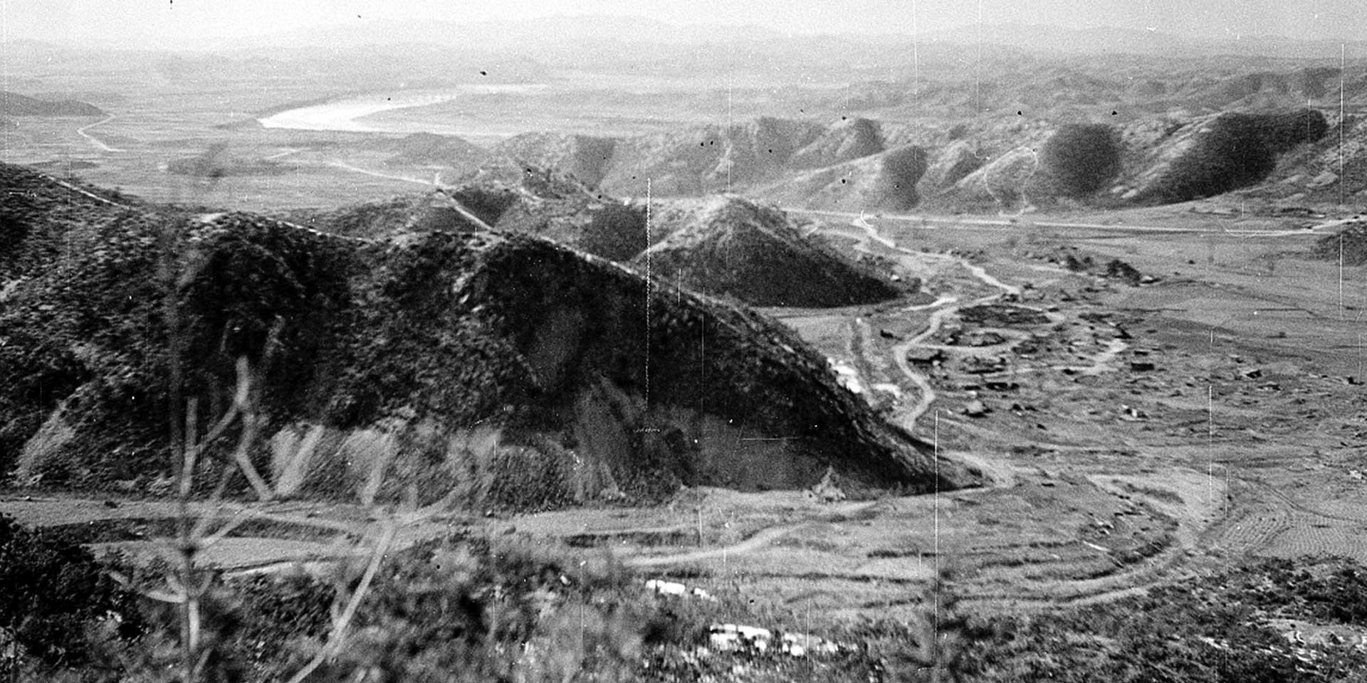 View looking north west over the River Imjin, 1951