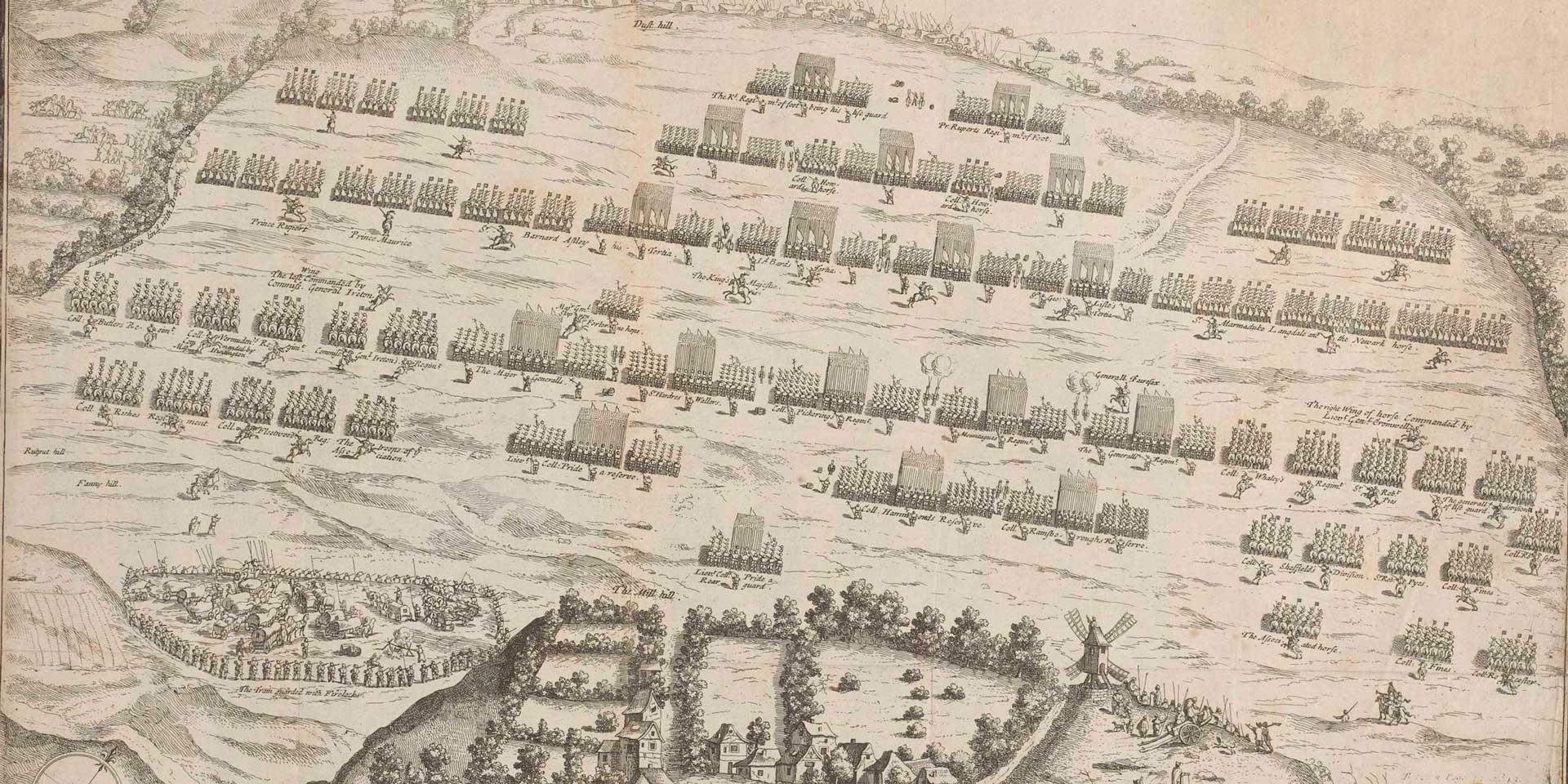 The opposing armies at Naseby in 1645 - a triumph for Parliament's New Model Army and its many puritan soldiers, the battle sealed the fate of both Charles I and Christmas