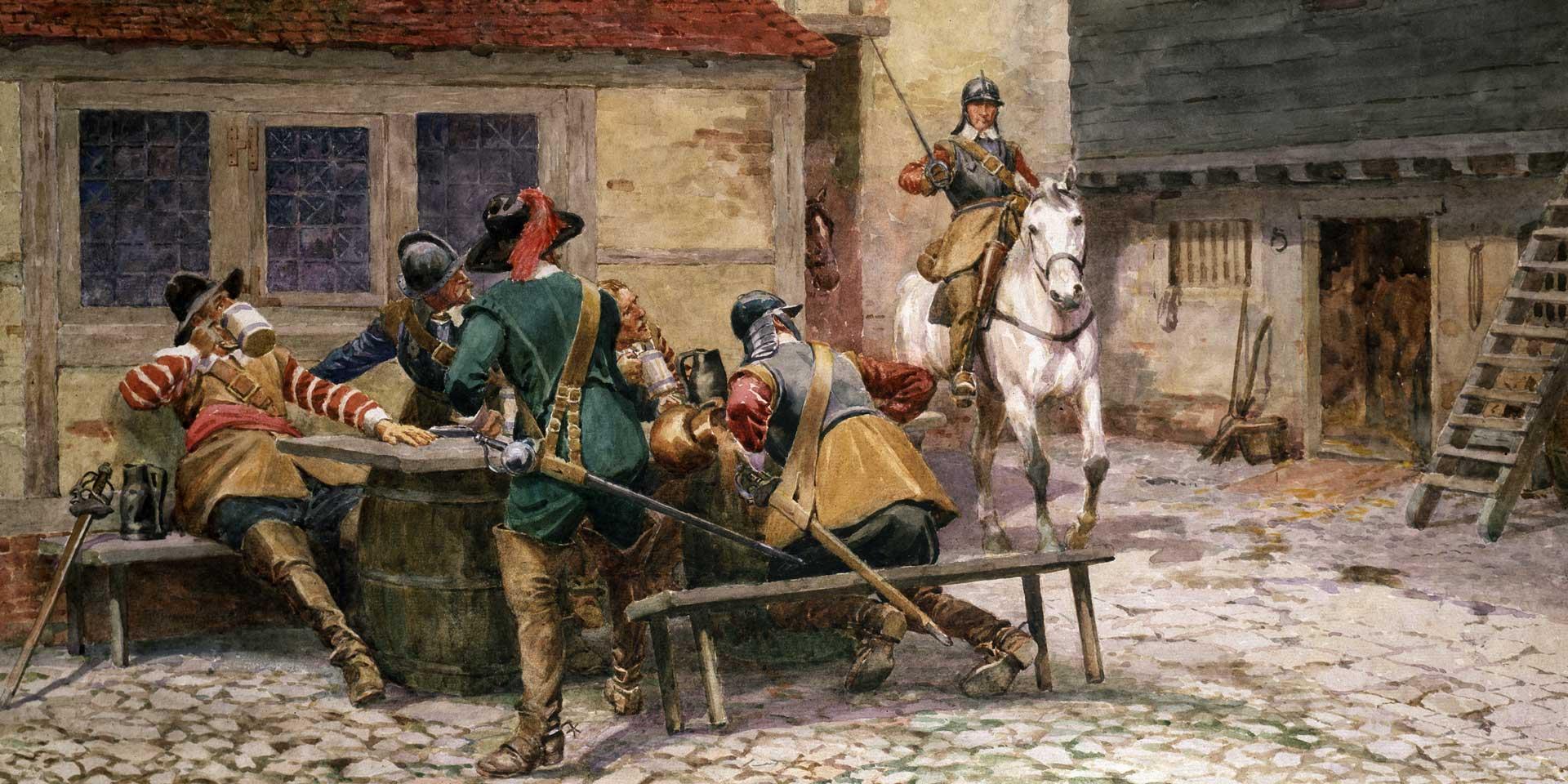 Parliamentarian soldiers at a tavern, c1645