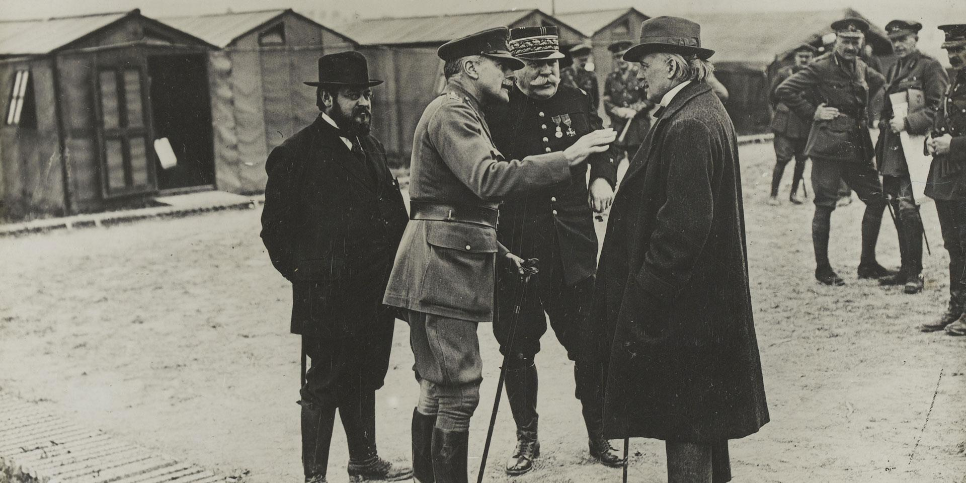 General Sir Douglas Haig confers with Minister of Munitions, David Lloyd George and General Joseph Joffre, 1916