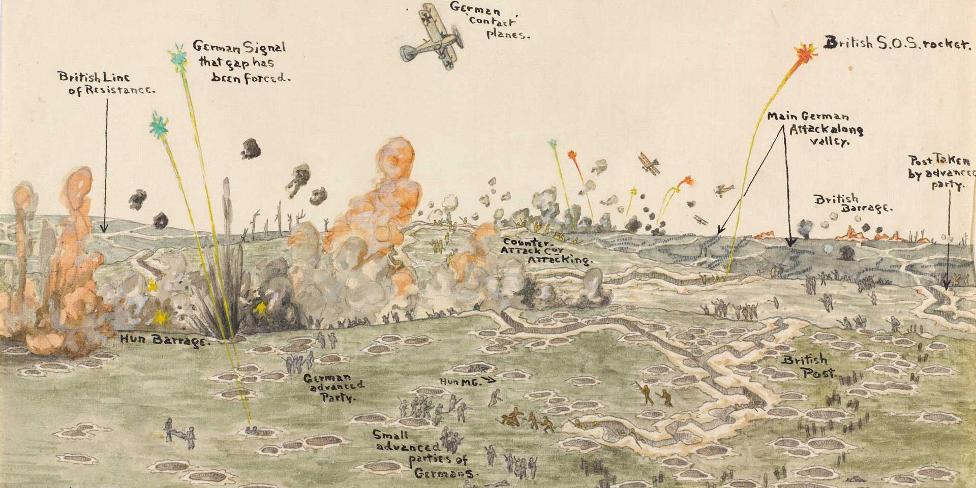 'Panoramic view of attack by infiltration, 1918' by Lieutenant Richard Talbot Kelly