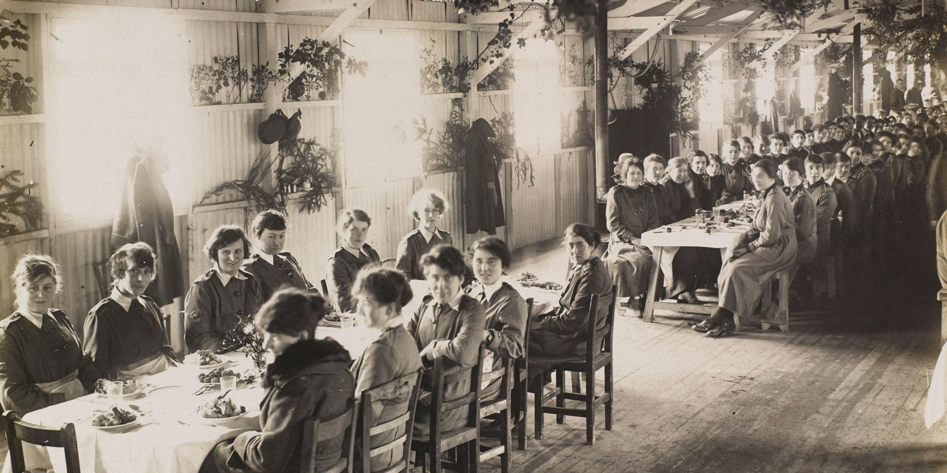 Members of the Women's Army Auxiliary Corps enjoy their Christmas Dinner, 1917