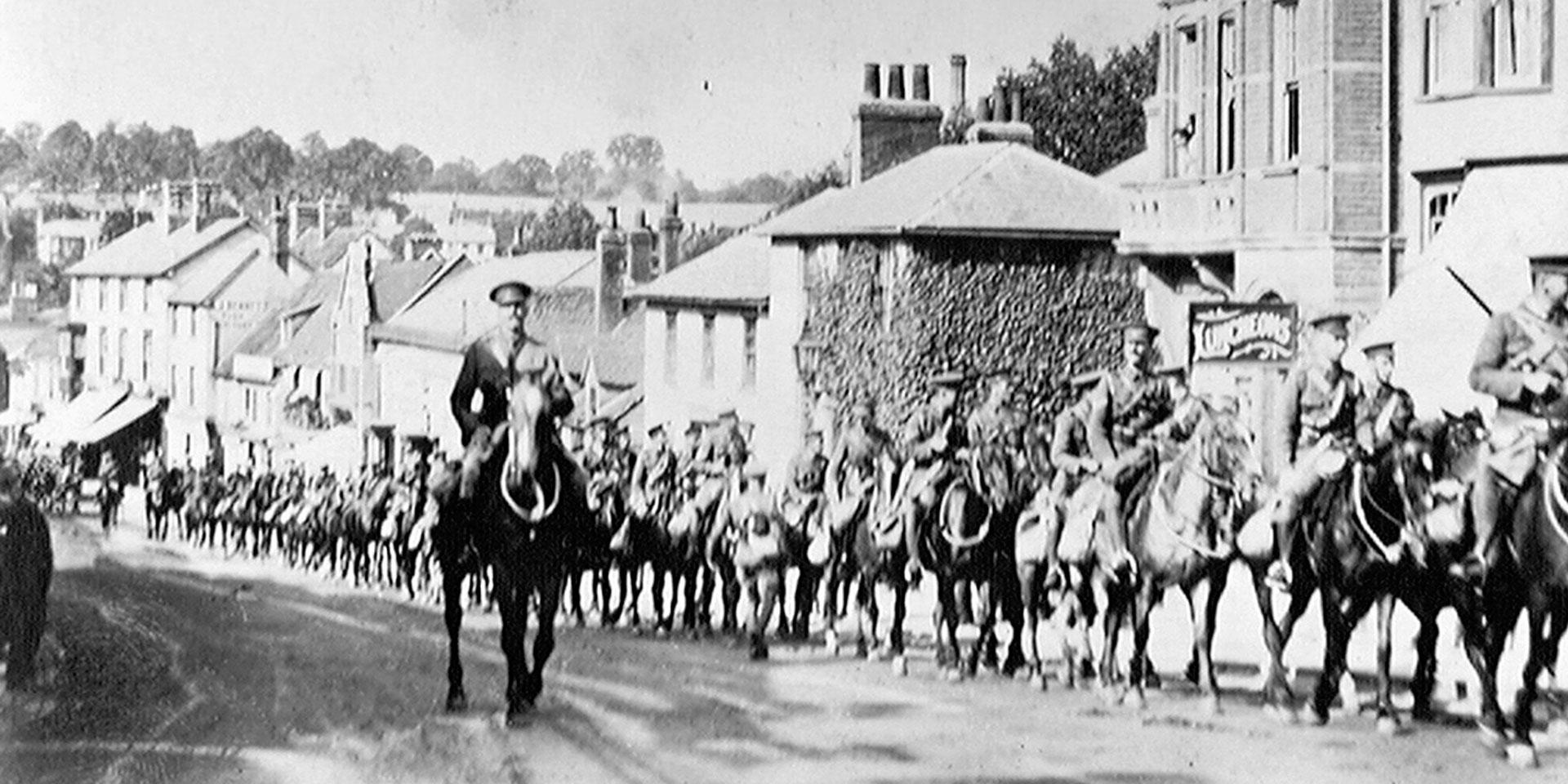 2/1st Hertfordshire Yeomanry on the march to war stations, August 1914