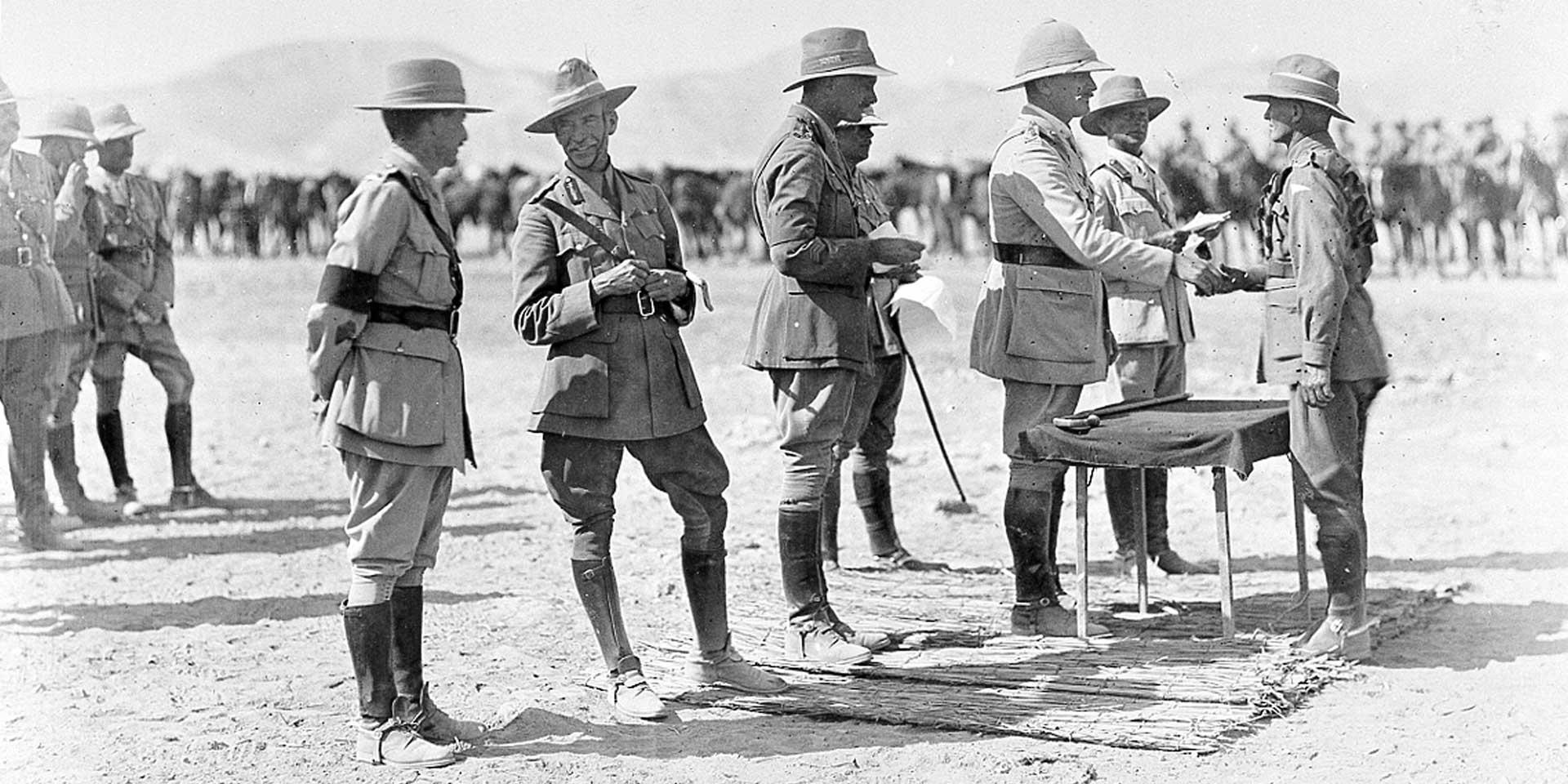 Presentation of medals by General Sir Edmund Allenby (third right) and Major-General Harry Chauvel, (second left), 1918