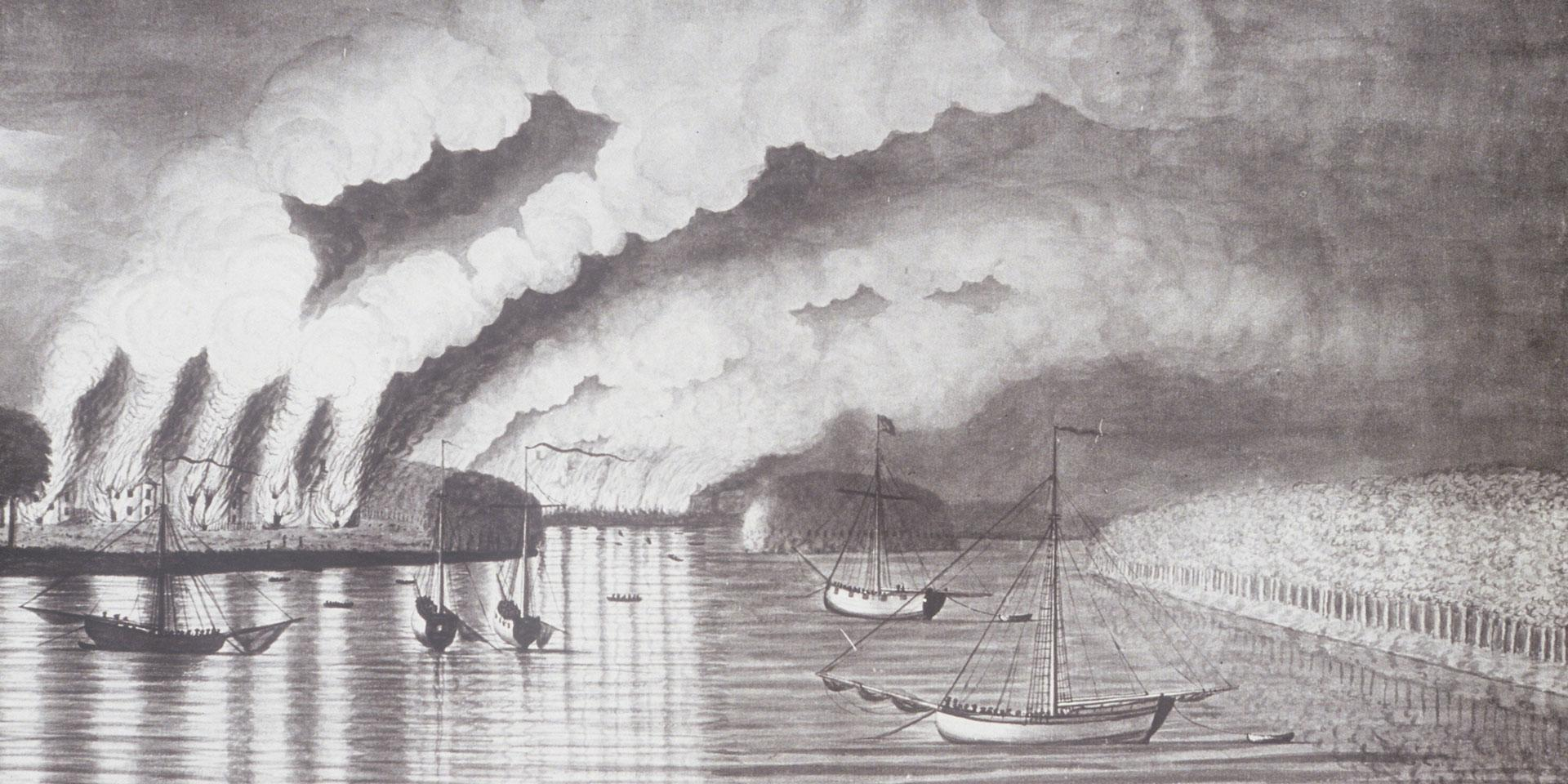 'A View of the Plundering and Burning of the City of Grimross', by Captain Thomas Davies, 1758