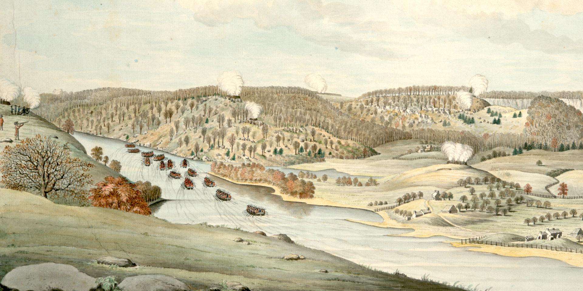 'A View of the Attack against Fort Washington and Rebel Redouts near New York' by Thomas Davies, 1776