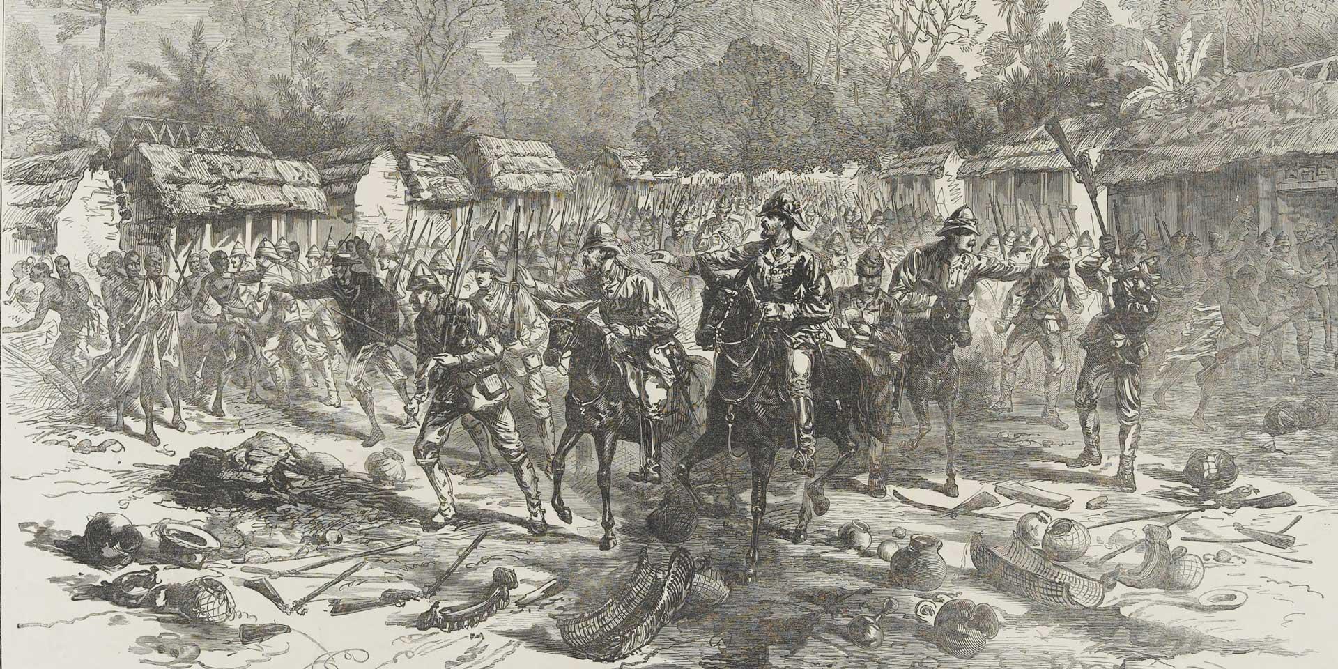 Major-General Sir Garnet Wolseley entering Kumasi, 1874