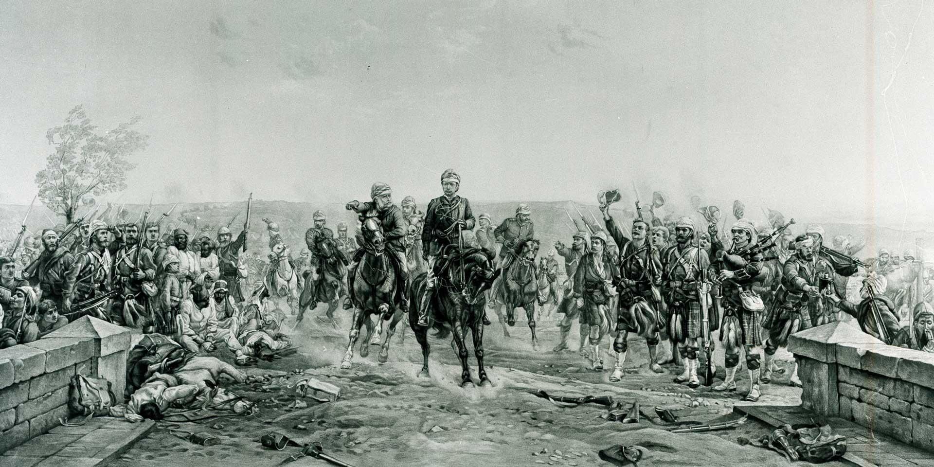 'After the Battle of Tel-el-Kebir - General Wolseley cheered by Highlanders', 1882