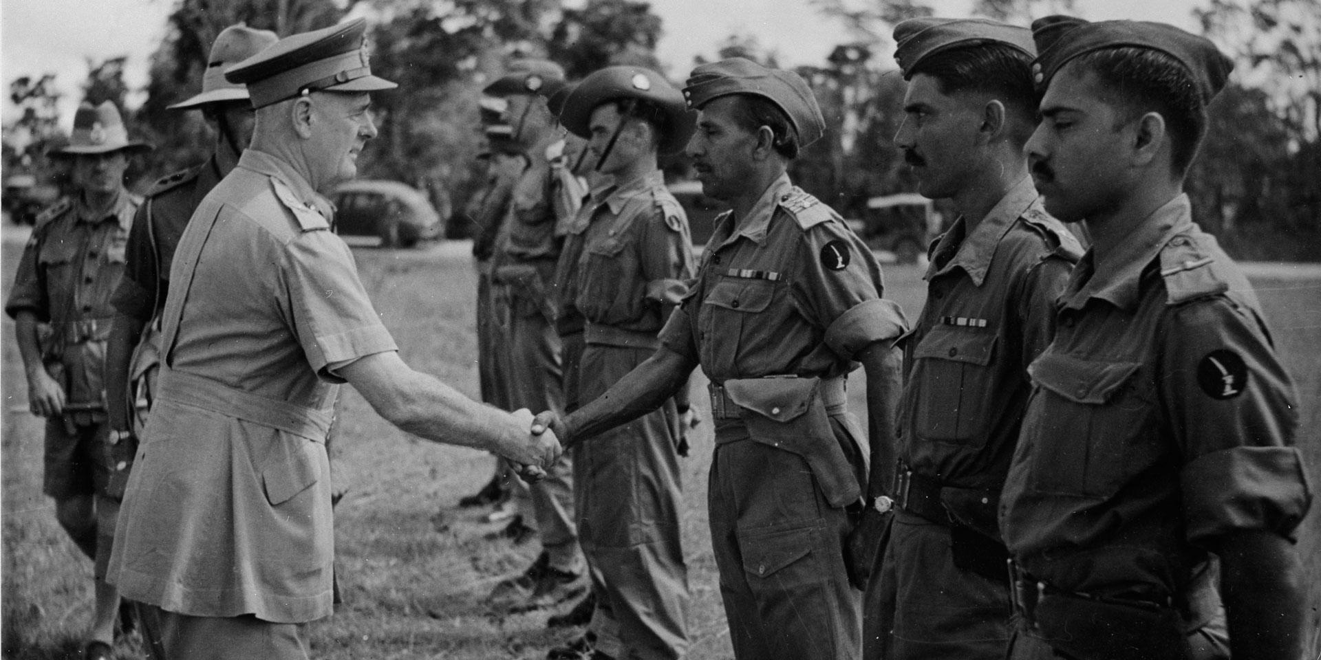 General Sir Archibald Wavell, Commander-in-Chief India and Commander of ABDA, greets men of 20th Indian Division, c1942