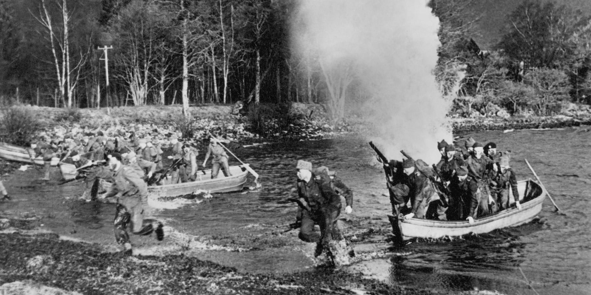 Assault landing at the Commando Training Centre, Achnacarry, Inverness-shire, 1942