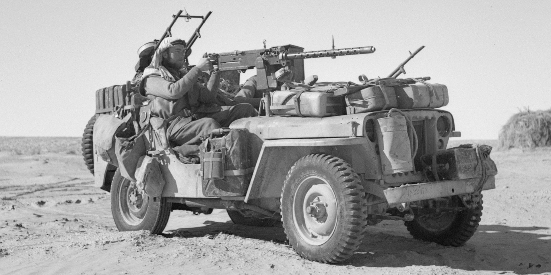 A heavily armed SAS jeep in the desert, c1943