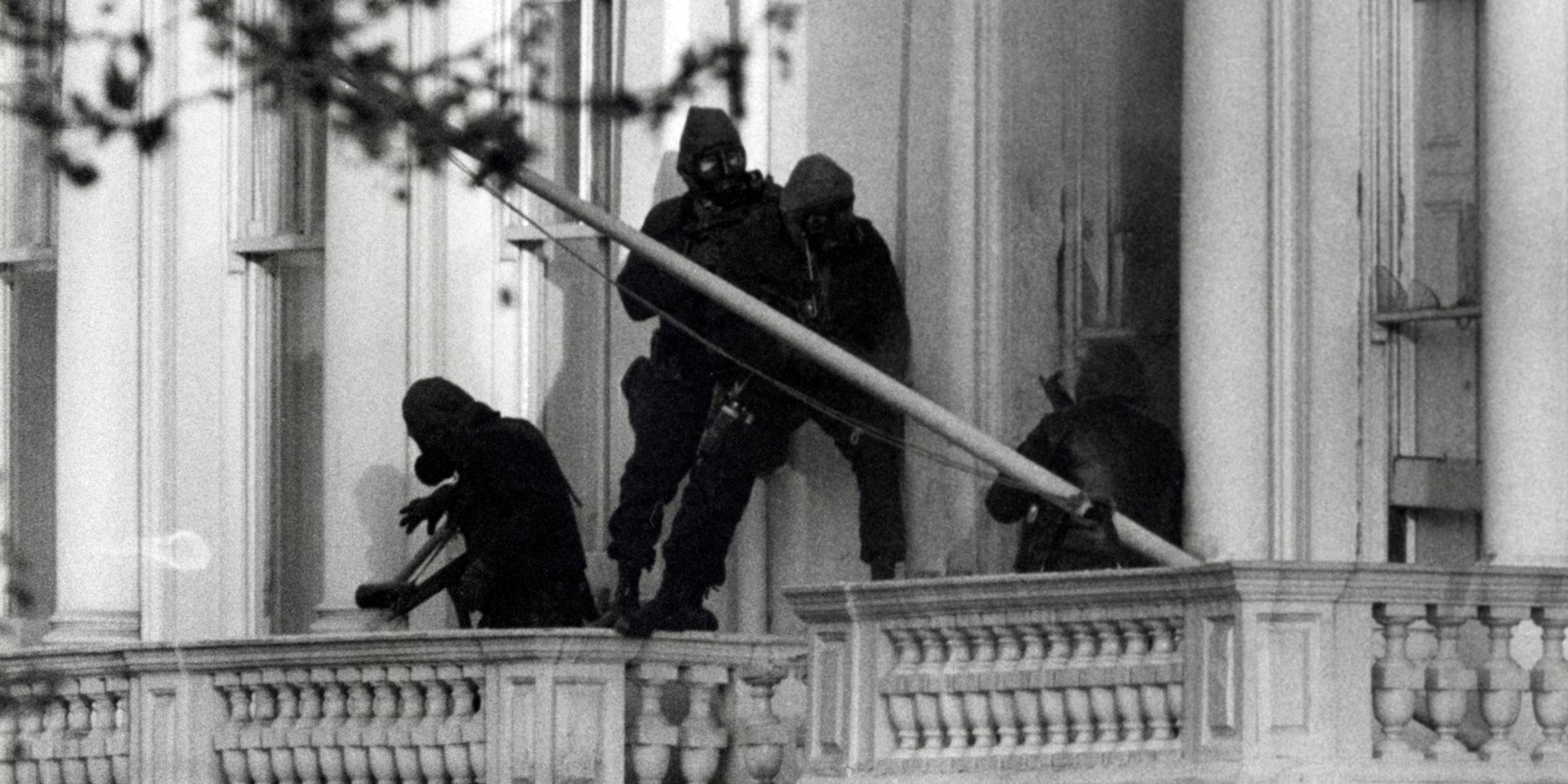 SAS troops entering the windows of the Iranian Embassy during the Siege, 1980