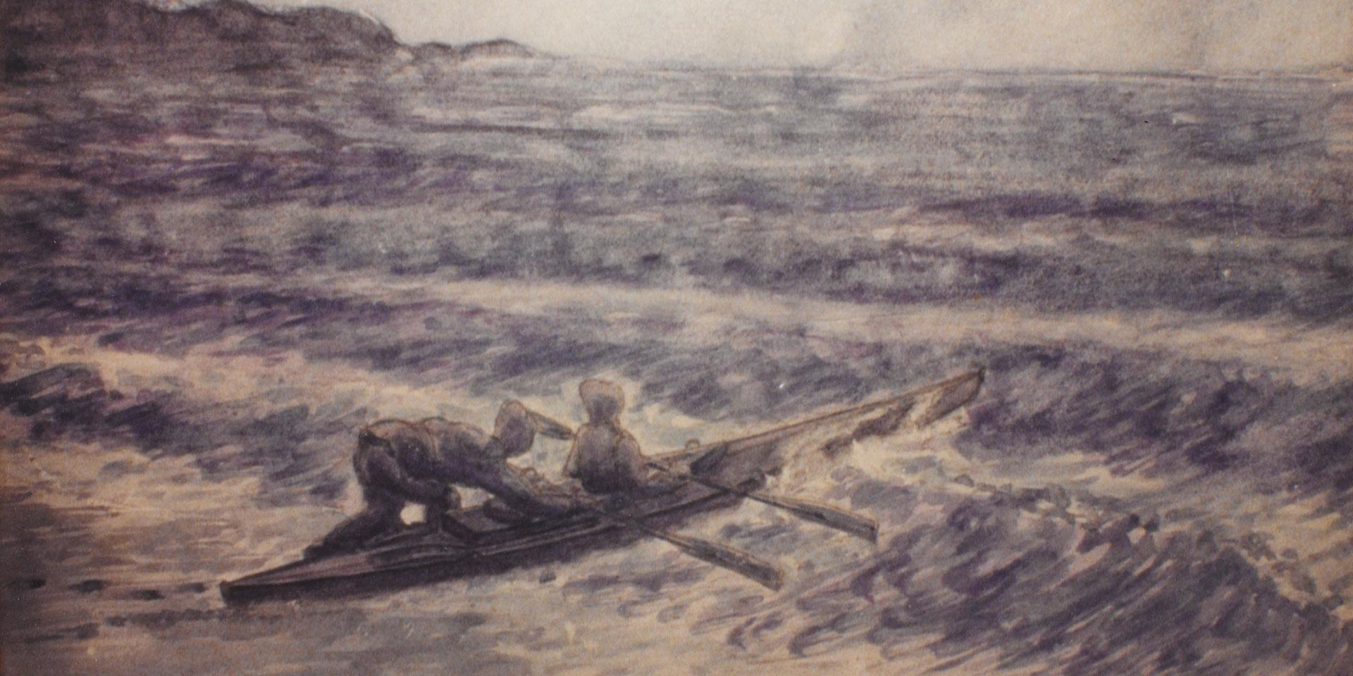A Special Boat Section canoe during the Anzio beach reconnaissance, 1944