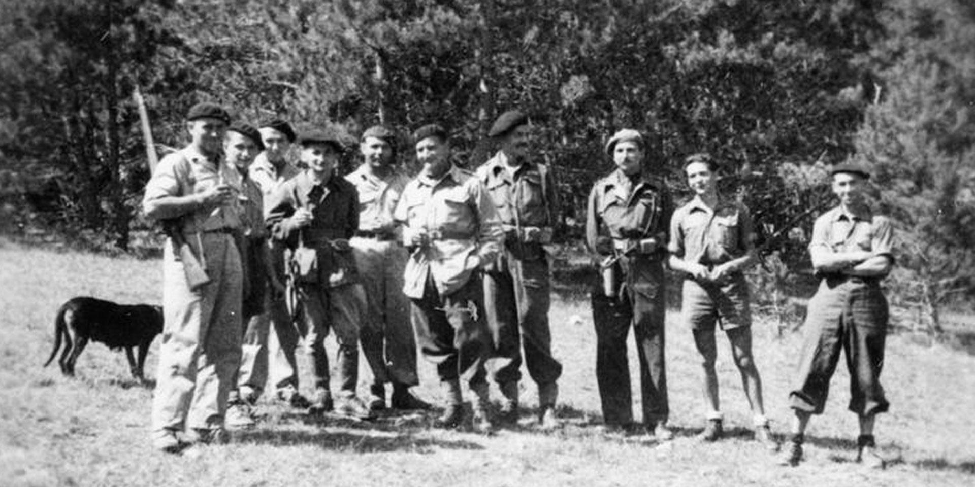 SOE agents with a Maquis group near Savournon, Hautes-Alpe, August 1944
