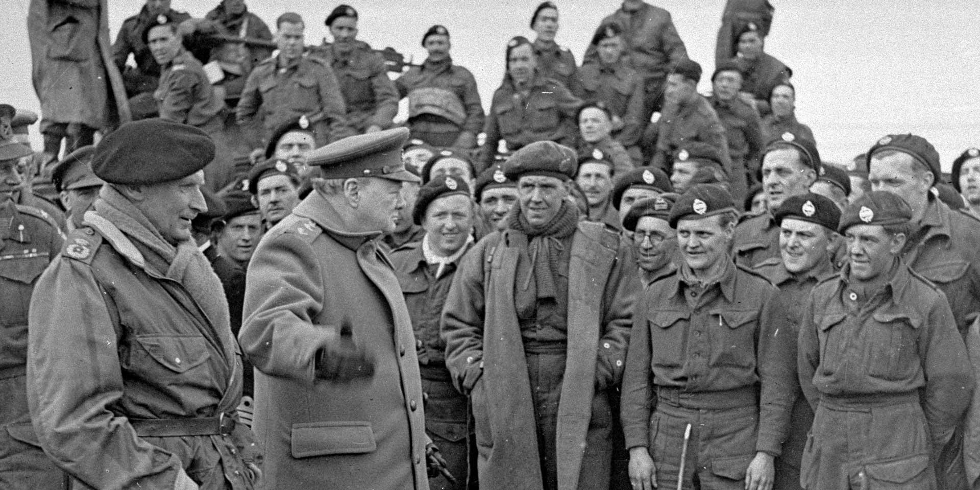 Winston Churchill and Field Marshal Montgomery visiting men of 79th Armoured Division, March 1945