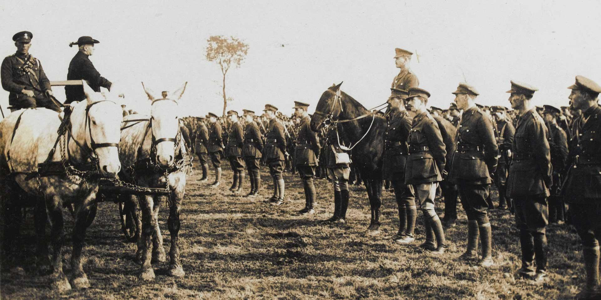 Cardinal Bourne visits Irish troops at the Front, 1916