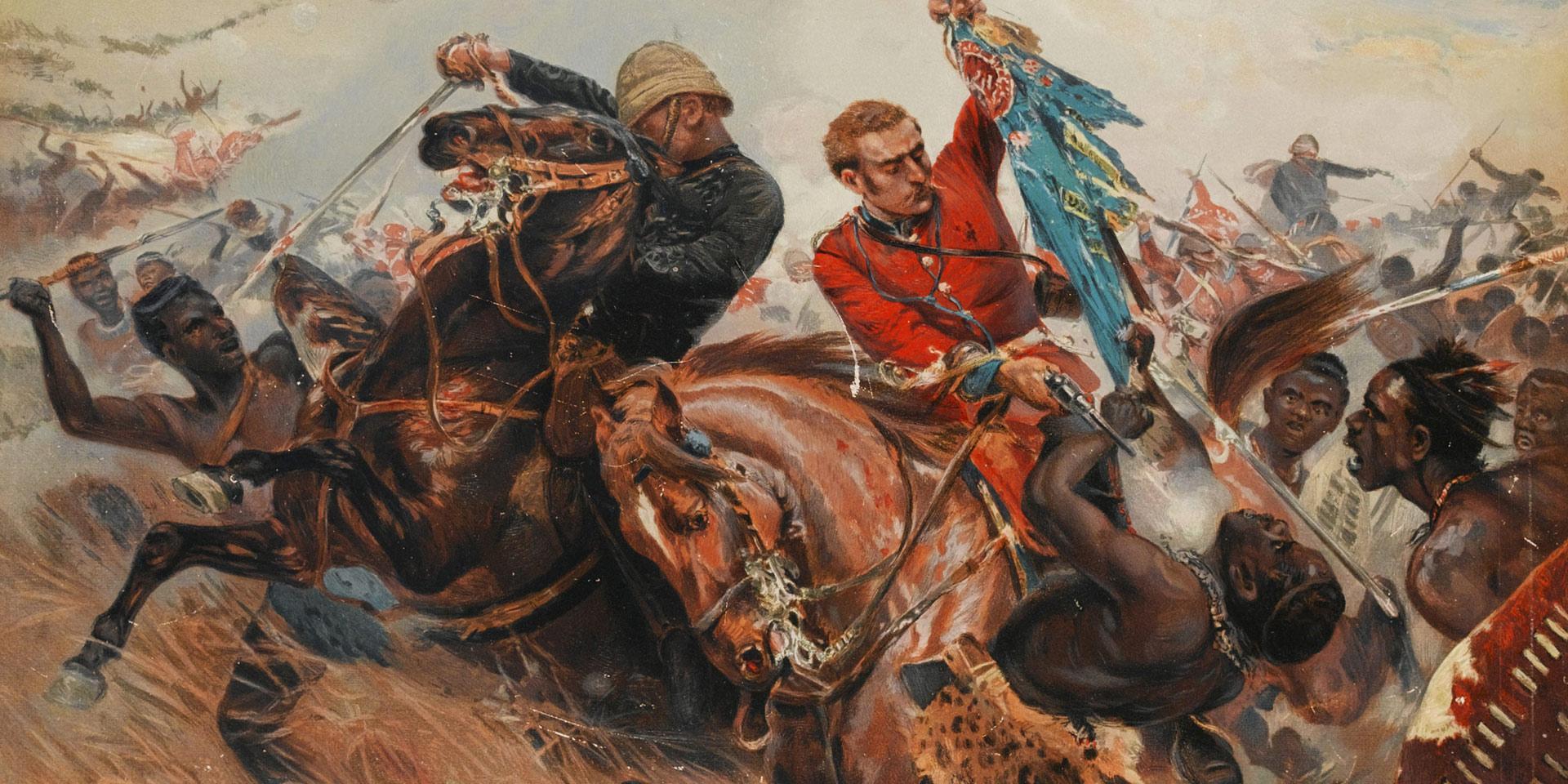 Lieutenants Melville and Coghill saving the Colours at Isandlwana, 1879