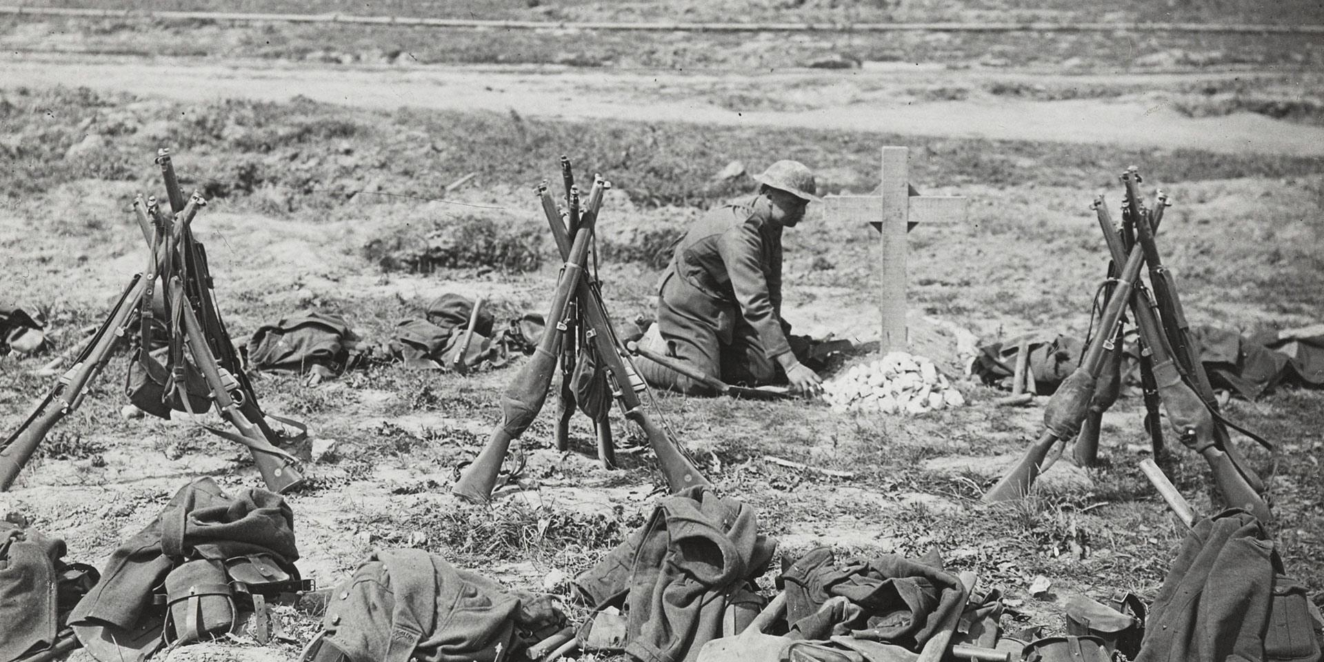 Tending a grave near Mametz Wood, August 1916