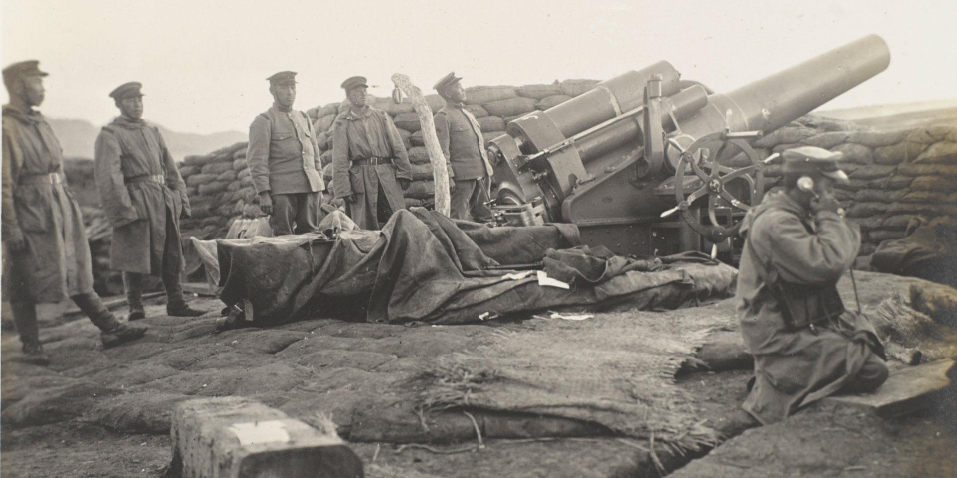 Japanese heavy battery, Tsingtao, October 1914