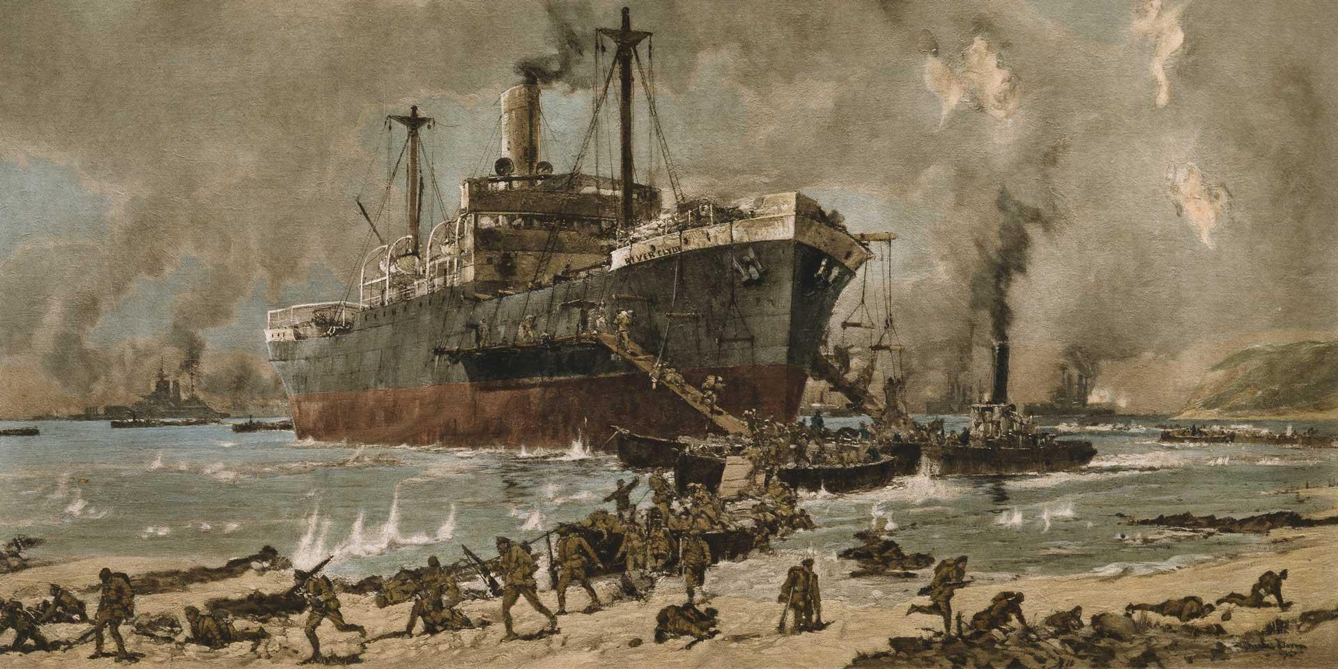 The SS 'River Clyde' landing troops at Cape Helles, Gallipoli, 25 April 1915