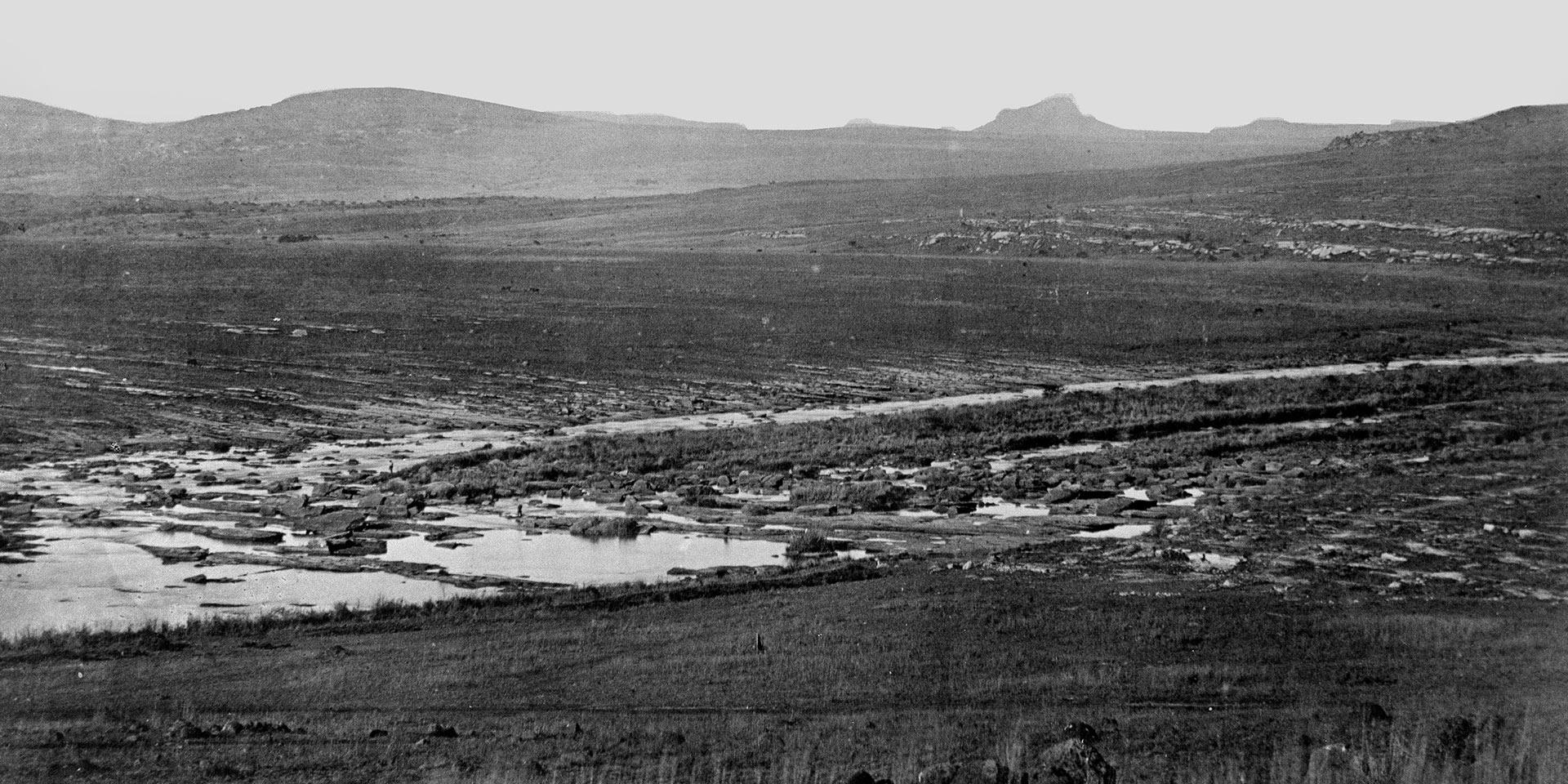 Rorke's Drift with Isandlwana in the distance, 1879
