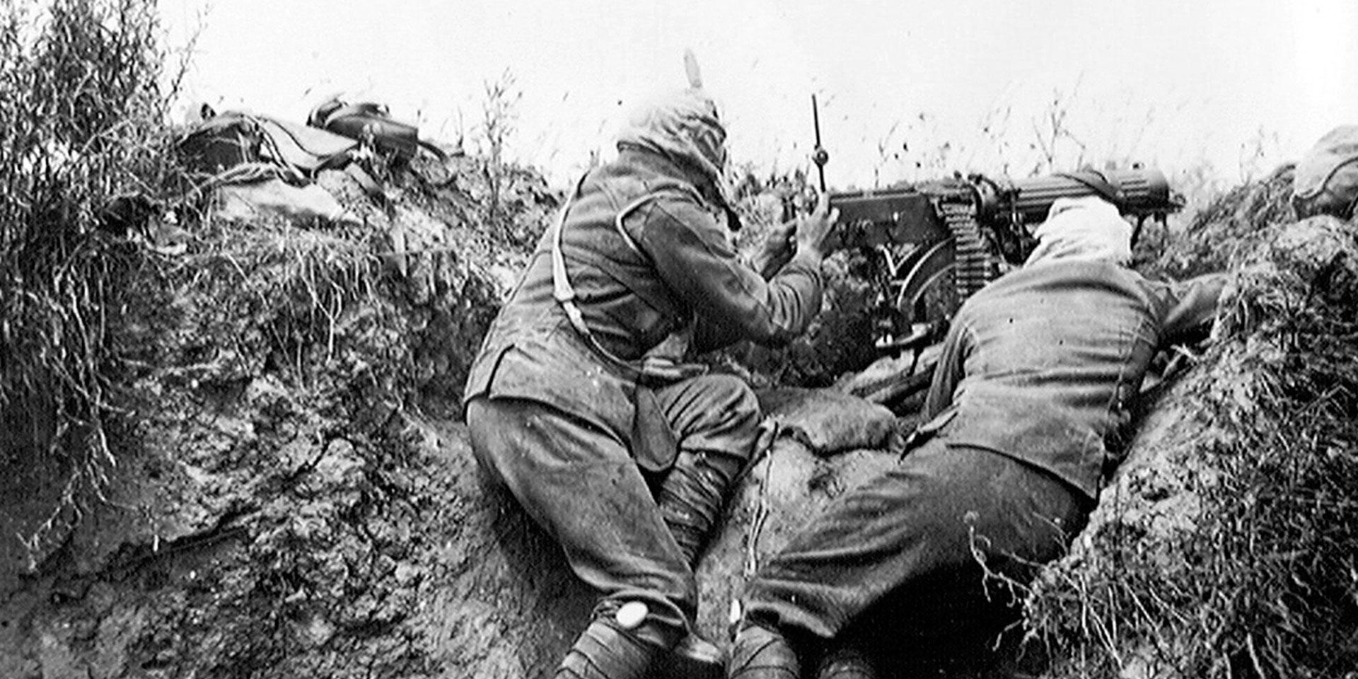 A Vickers machine gun team near Ovilliers on the Somme, July 1916